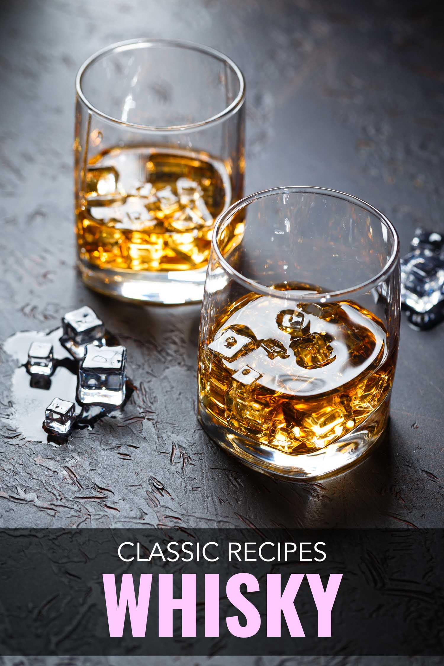Classic whisky cocktails in low glasses