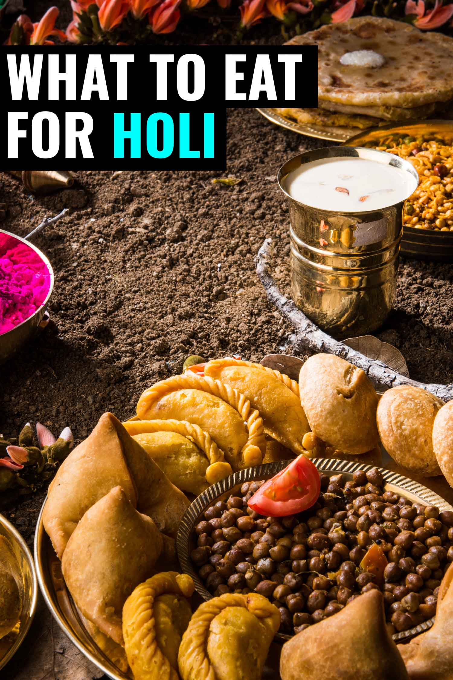 Plates of food for Holi, the colourful festival in India