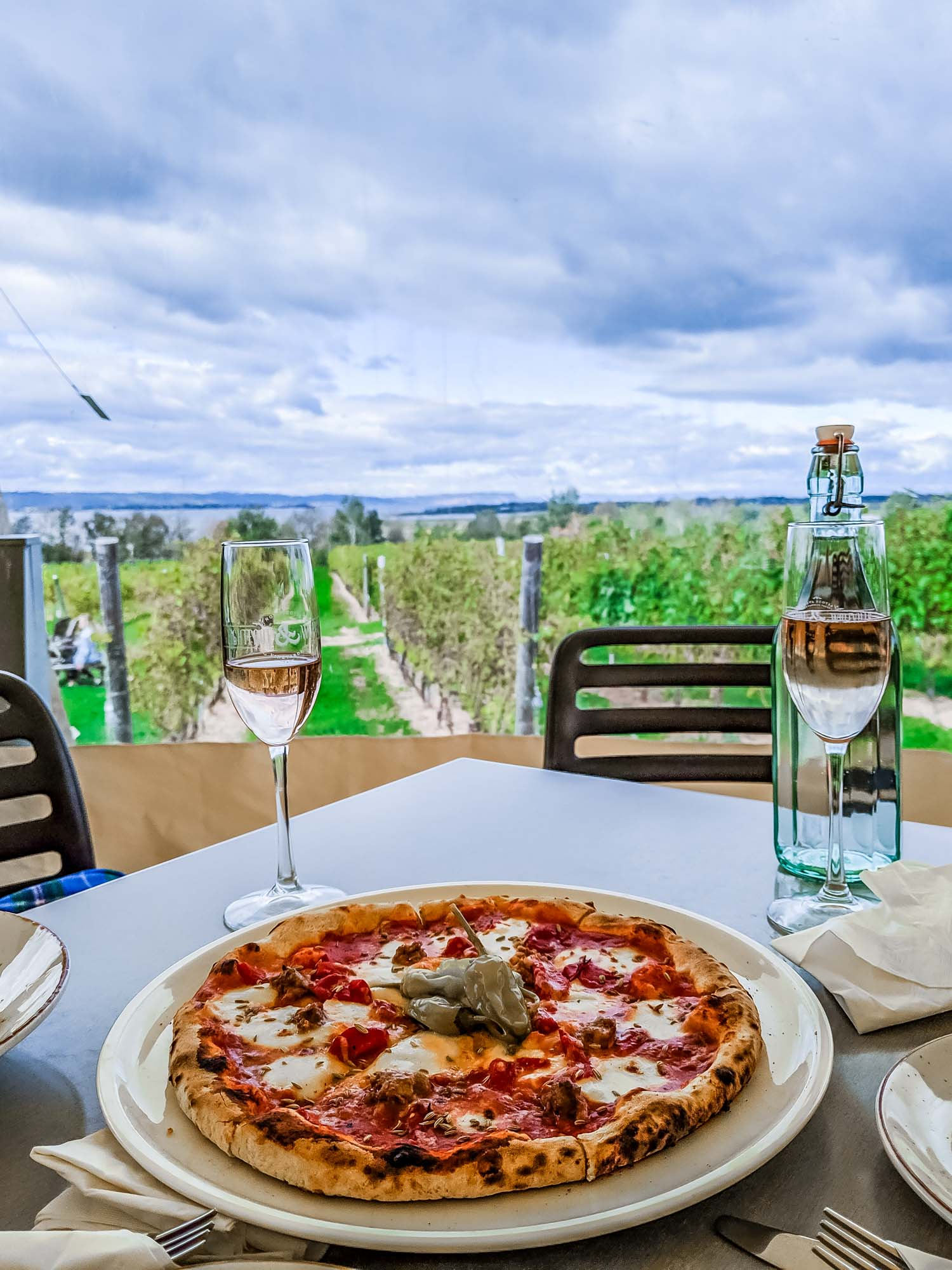 Pizza and a view at Lightfoot & Wolfville, a stop on the Wolfville wine bus.