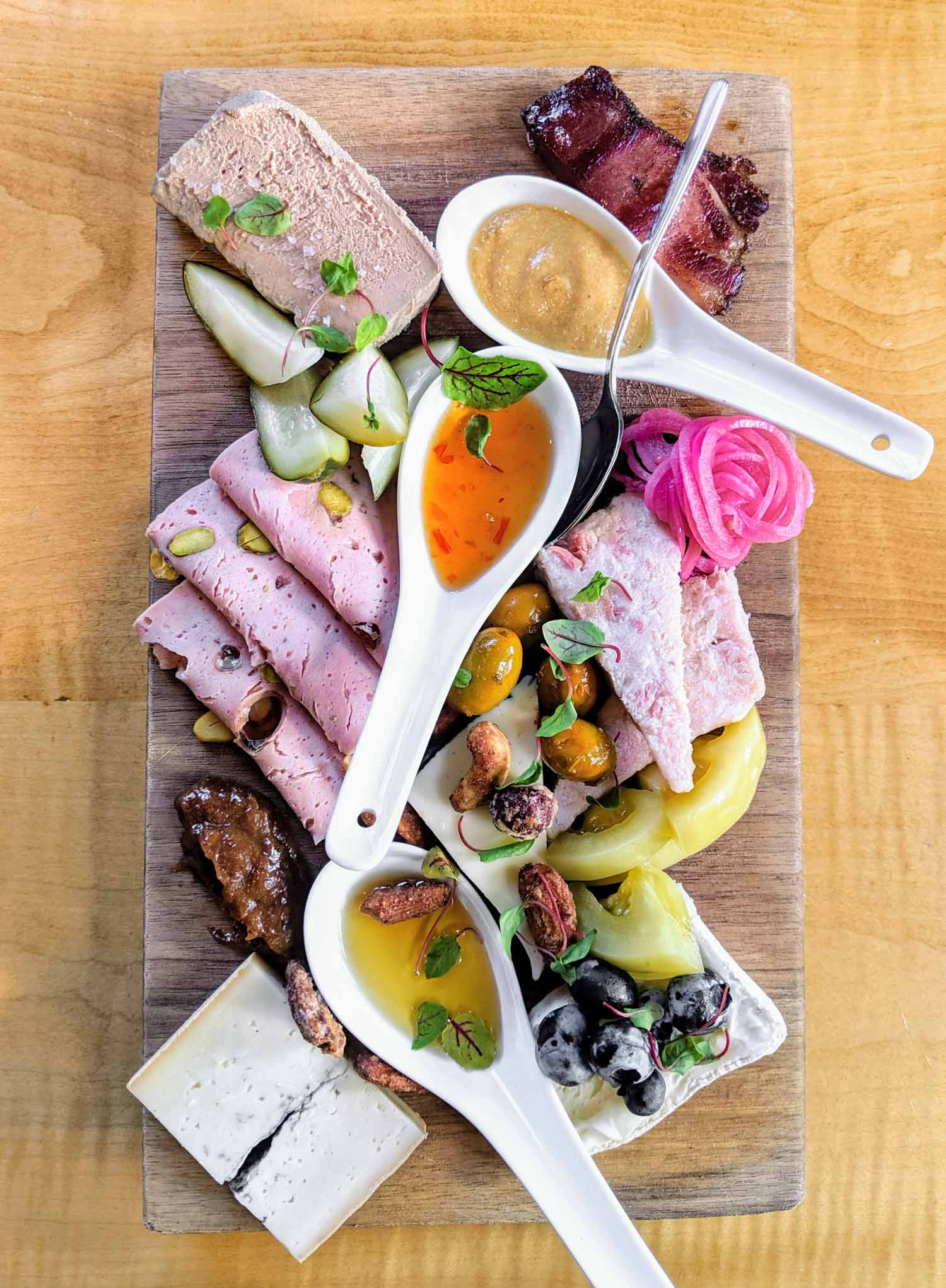 Charcuterie board from Le Caveau, the Domaine de Grand Pre winery, a stop on the Wolfville wine bus