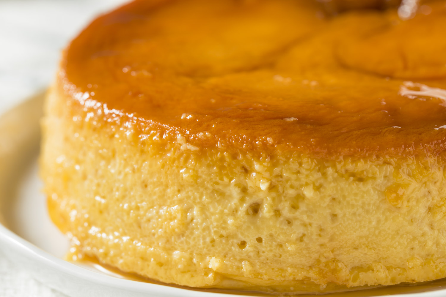 Sweet Homemade Spanish Flan Dessert with Caramel Sauce