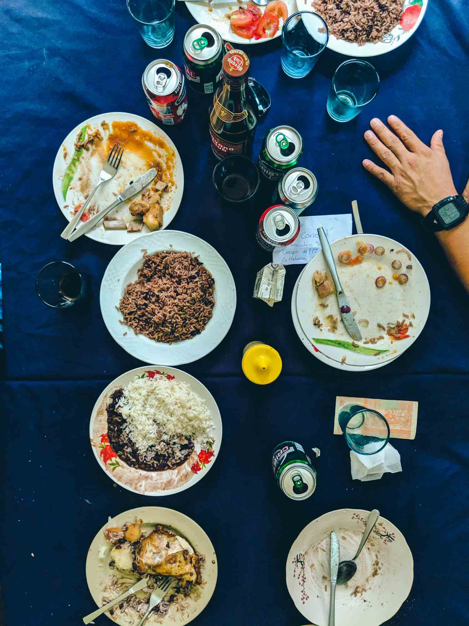 Havana restaurants food on dark blue tablecloth