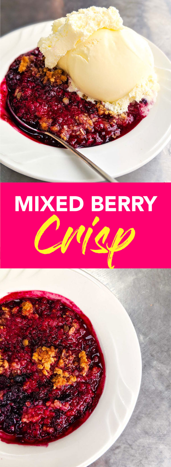 Mixed berry crisp recipe in white bowl on silver background, a classic Nova Scotian dessert.