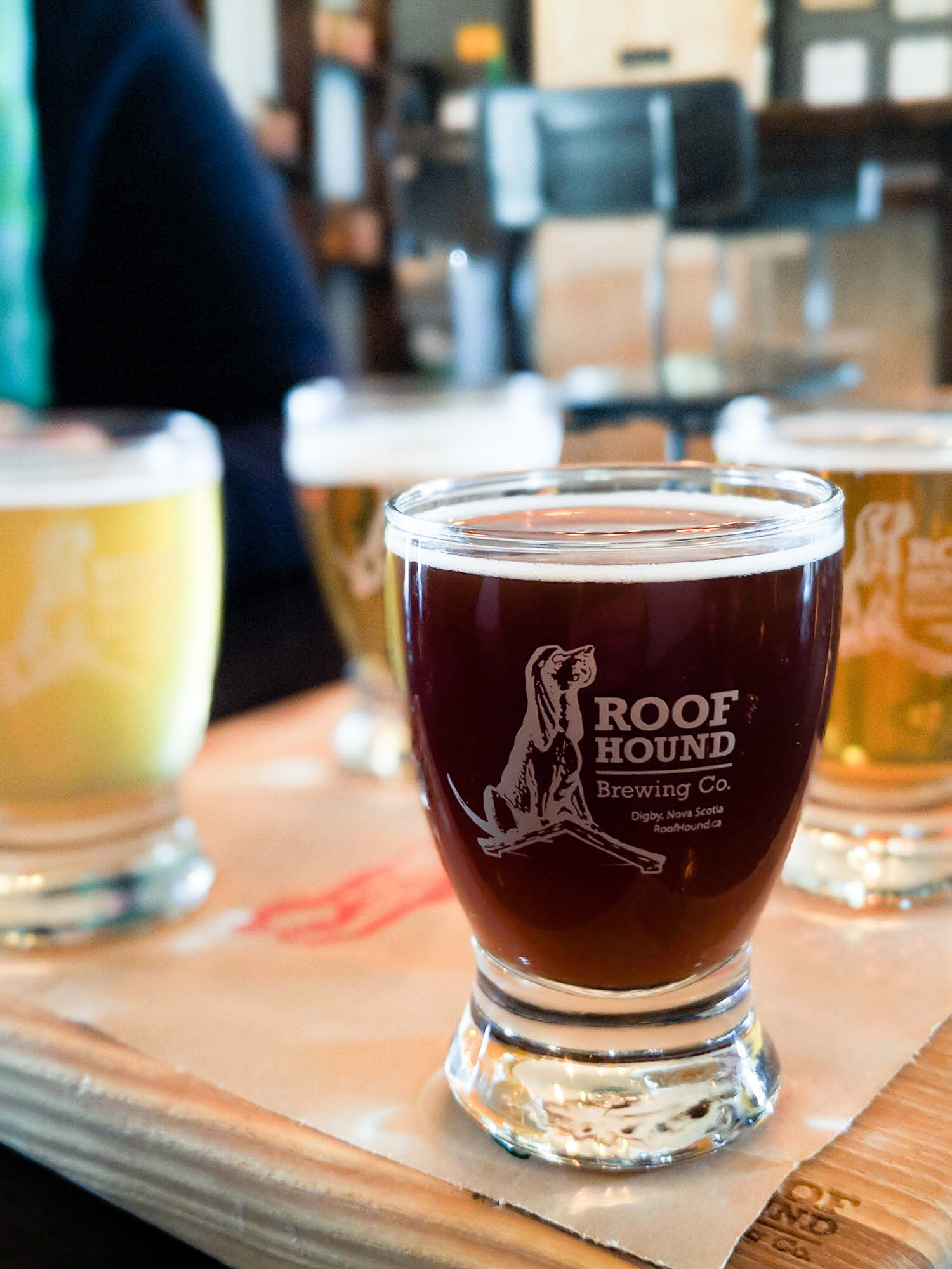 Flight of Roof Hound Craft Beer in Nova Scotia Canada