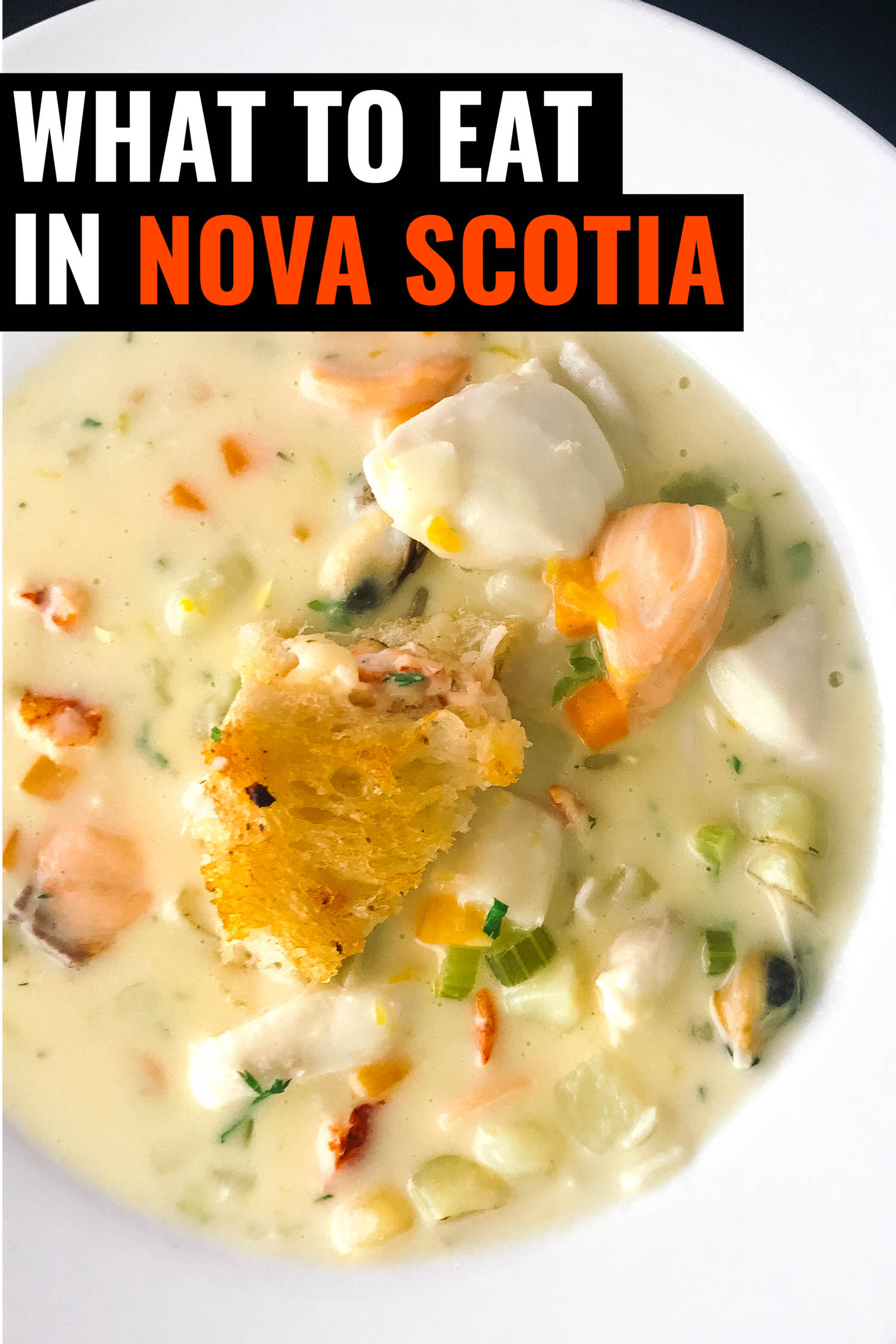 Nova Scotia chowder in white bowl.