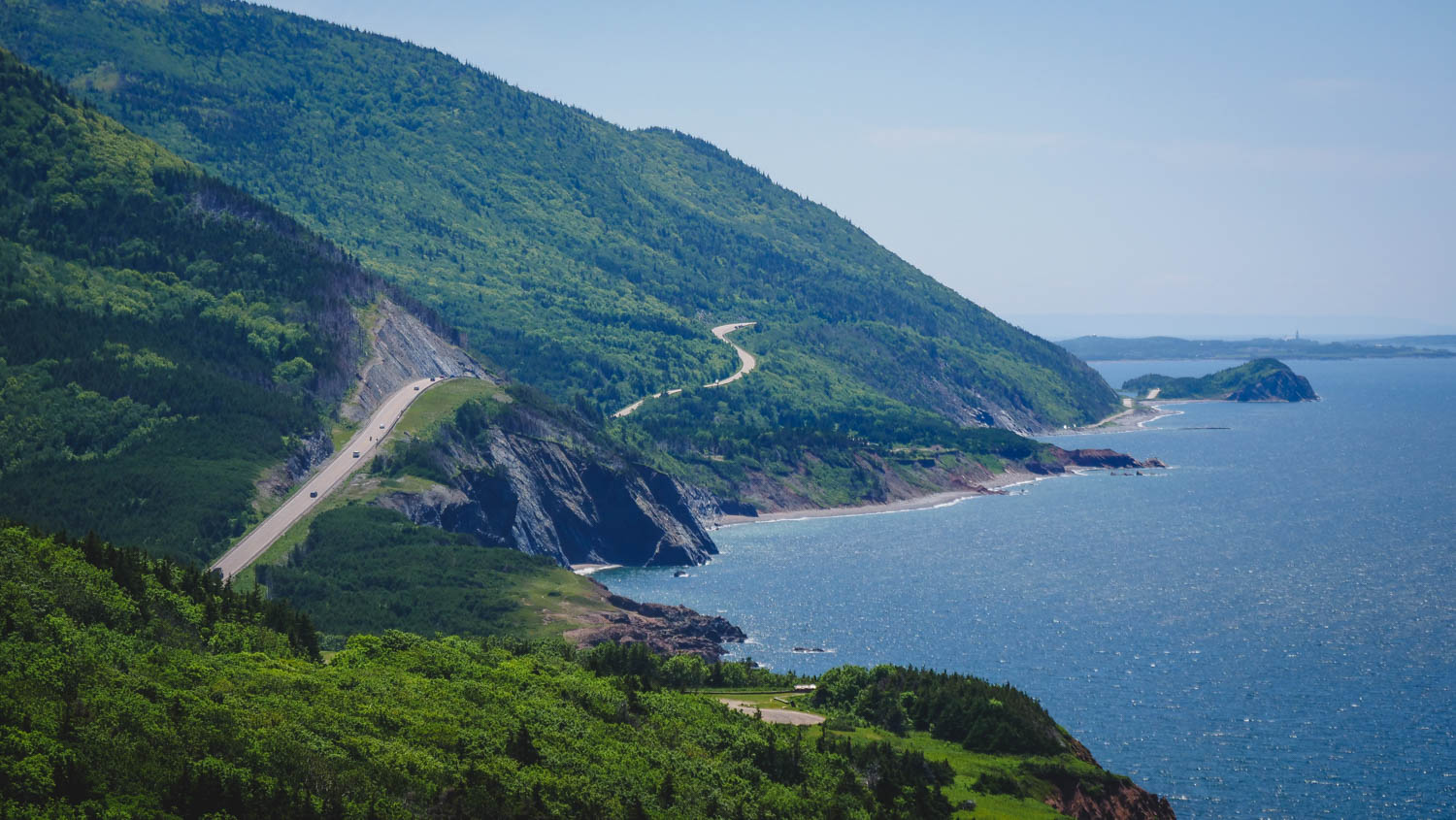 Aerial view of the Cabot Trail in Nova Scotia