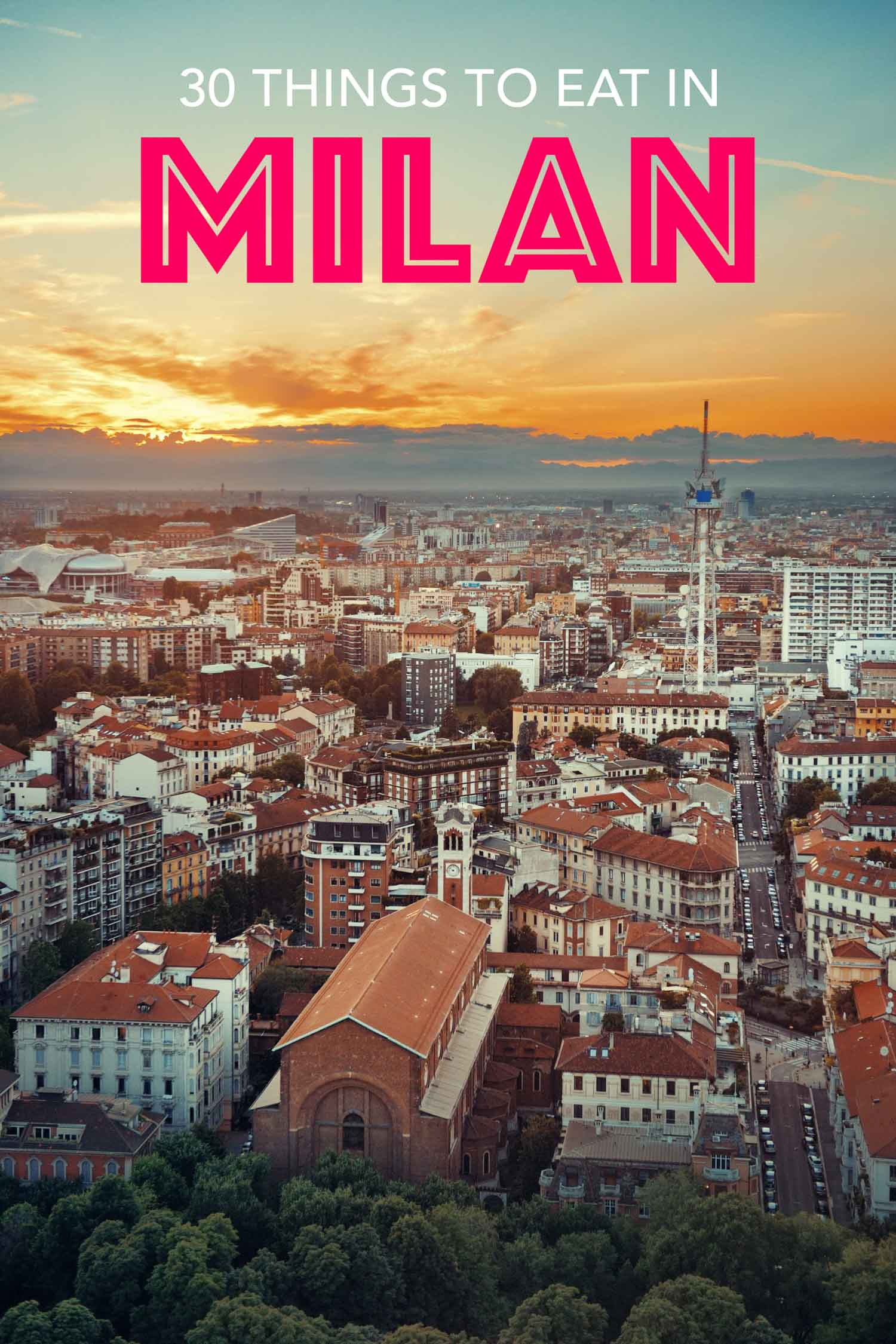 Milan Italy aerial view of city