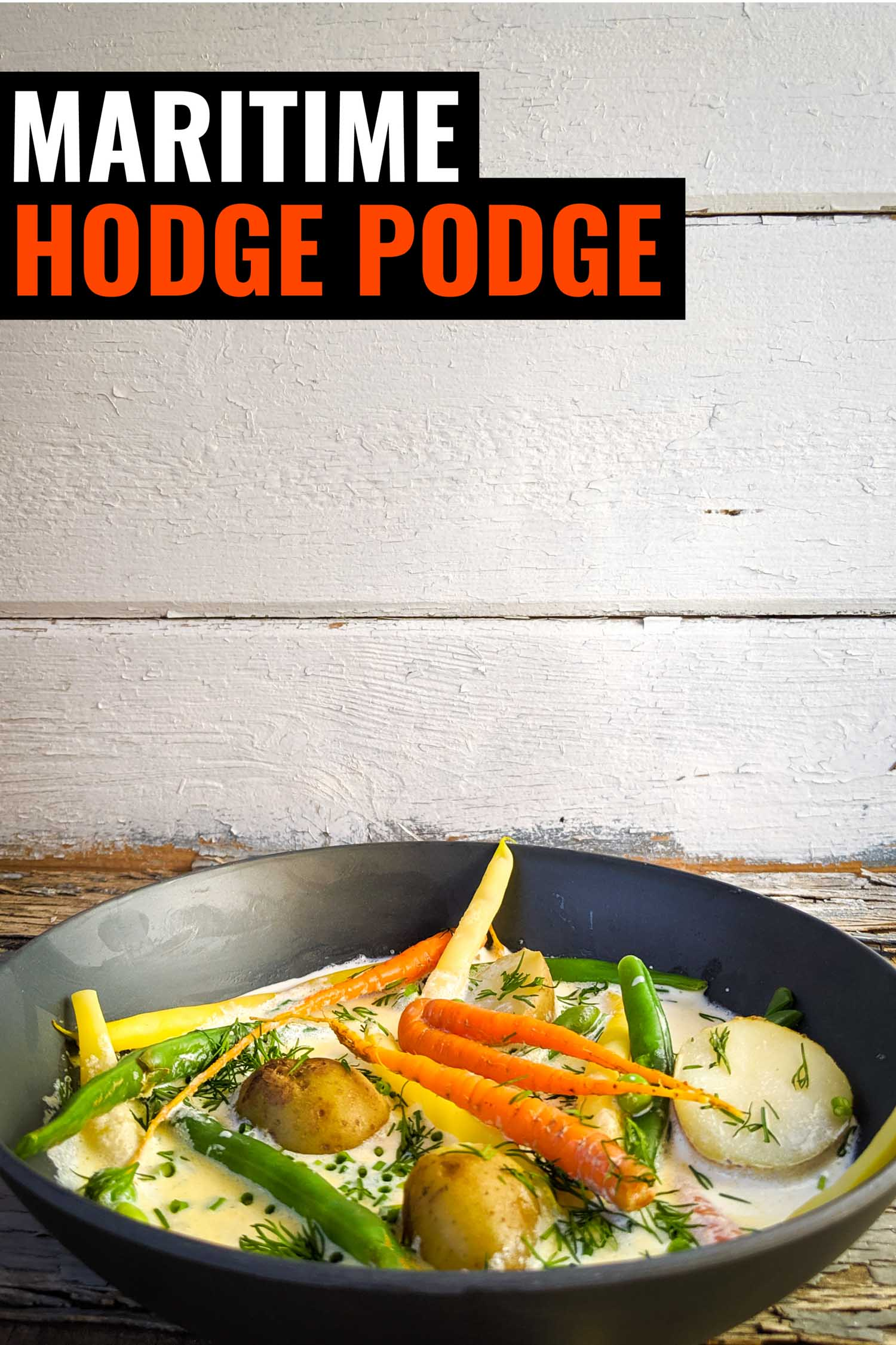 A bowl of vegetables in cream, a traditional recipe in Nova Scotia called hodge podge.