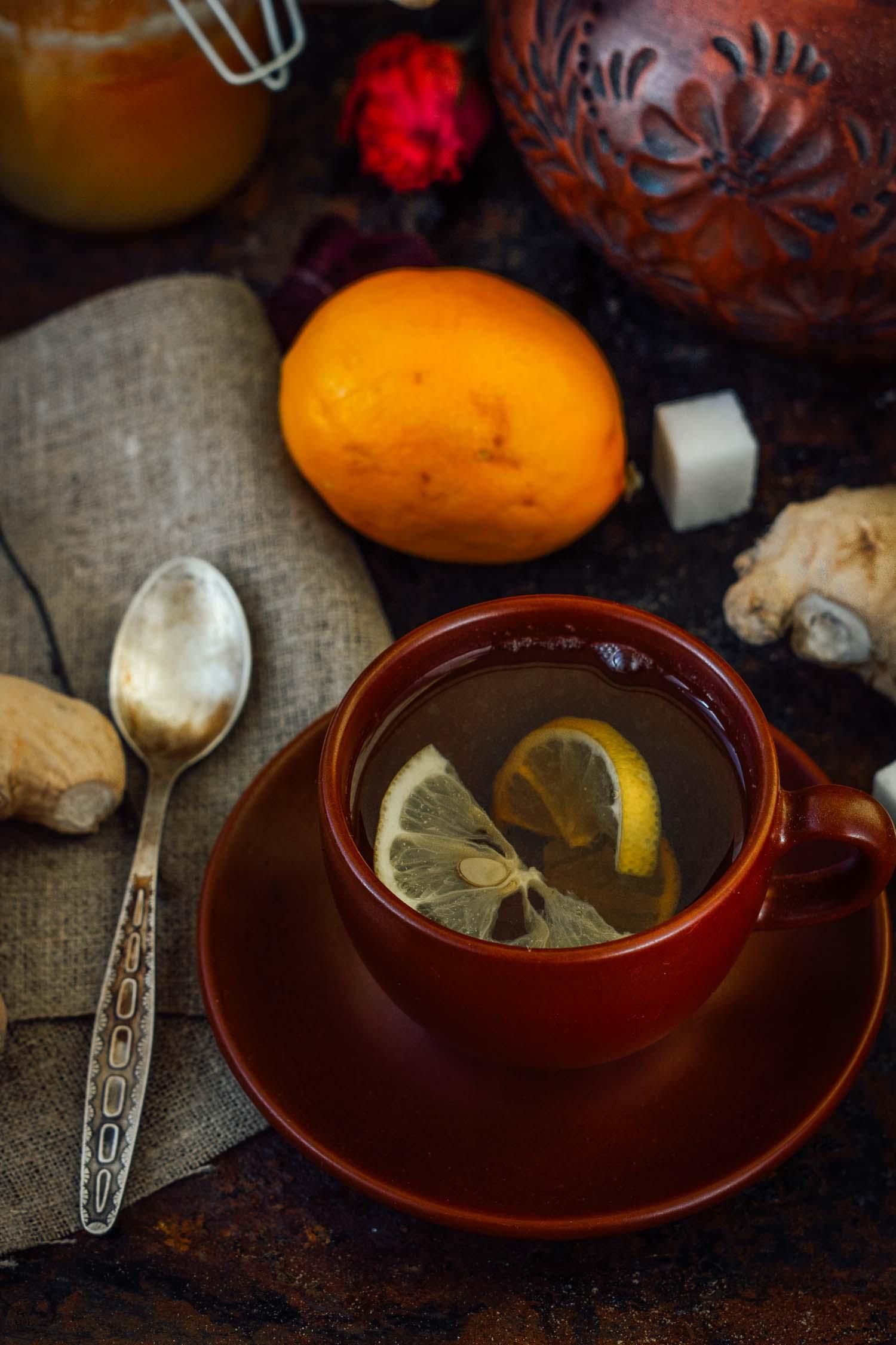 Ginger tea with lemon lime and sugar