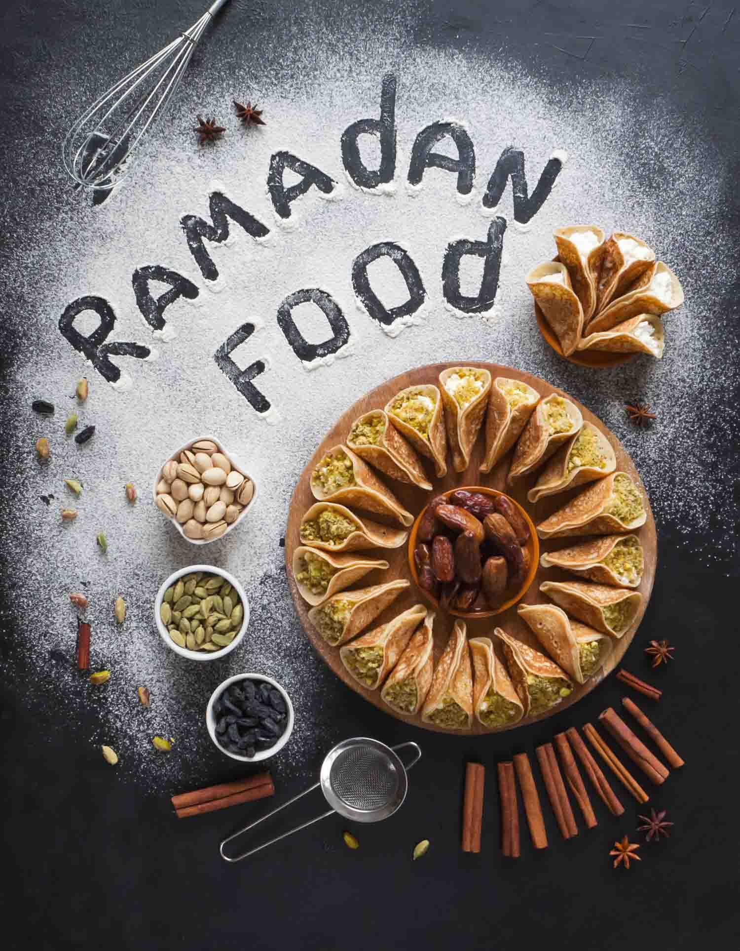 Arabic pastry background with the inscription Ramadan Food