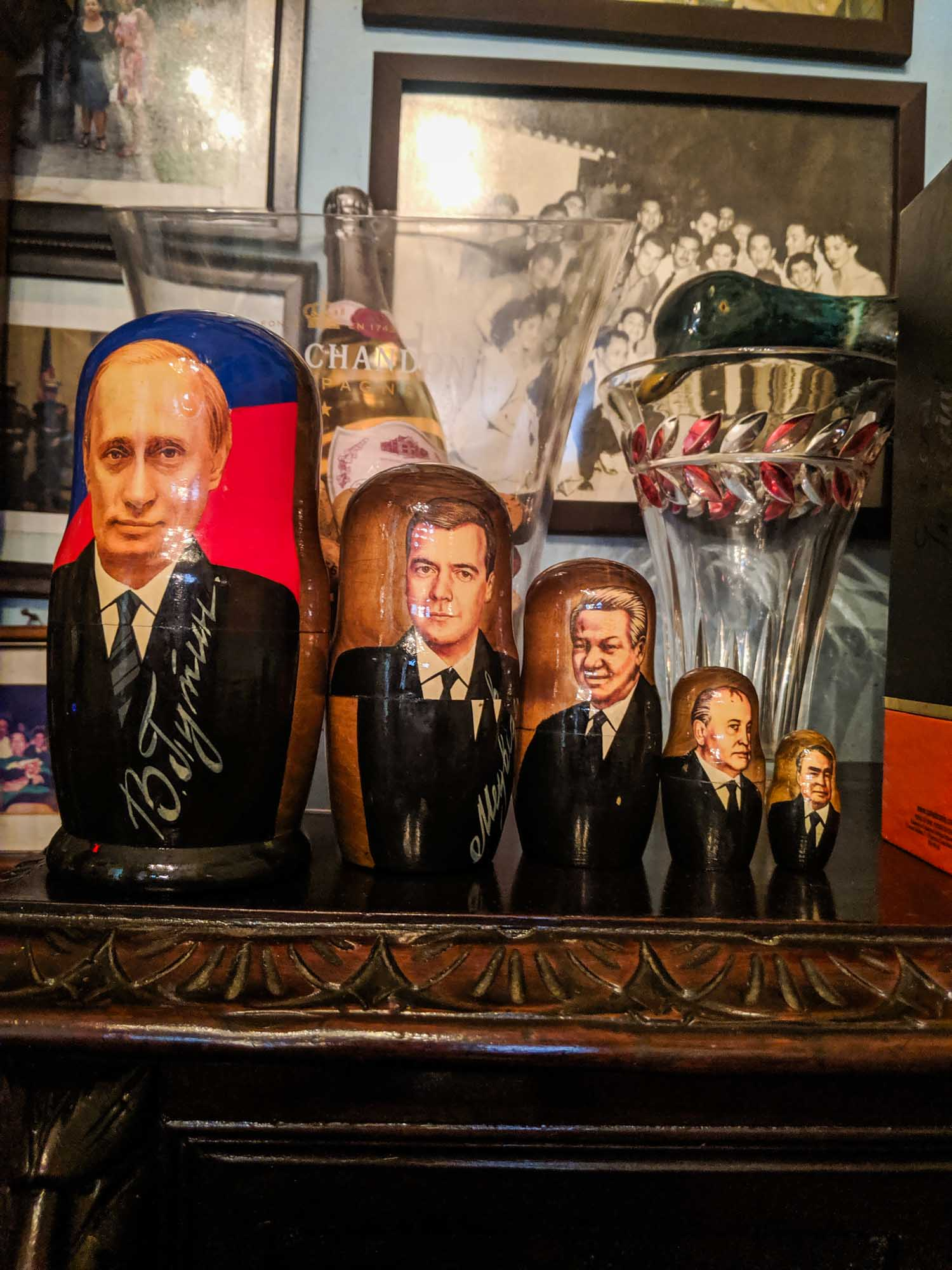 Russian dolls featuring Russian president Putin at restaurant in Havana Paladar San Cristobal