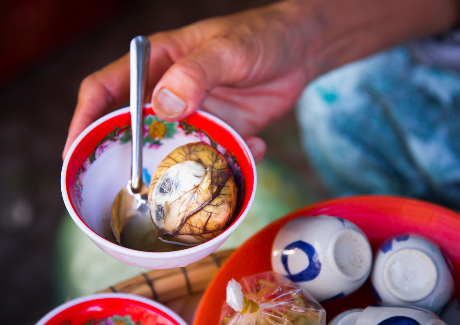 Balut egg, an asian delicacy made from fermented duck embryo.