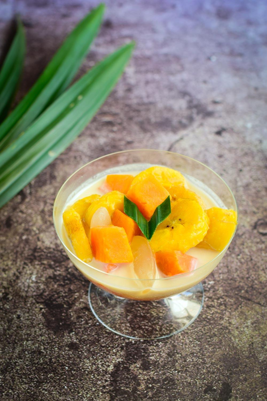 Kolak Pisang, Traditional Indonesian food during ramadan, Banana cooked in coconut milk, palm sugar and pandan leaf