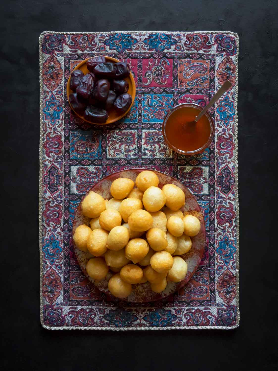 Luqaimat - traditional sweet dumplings of UAE. Sweet Ramadan food dumplings.