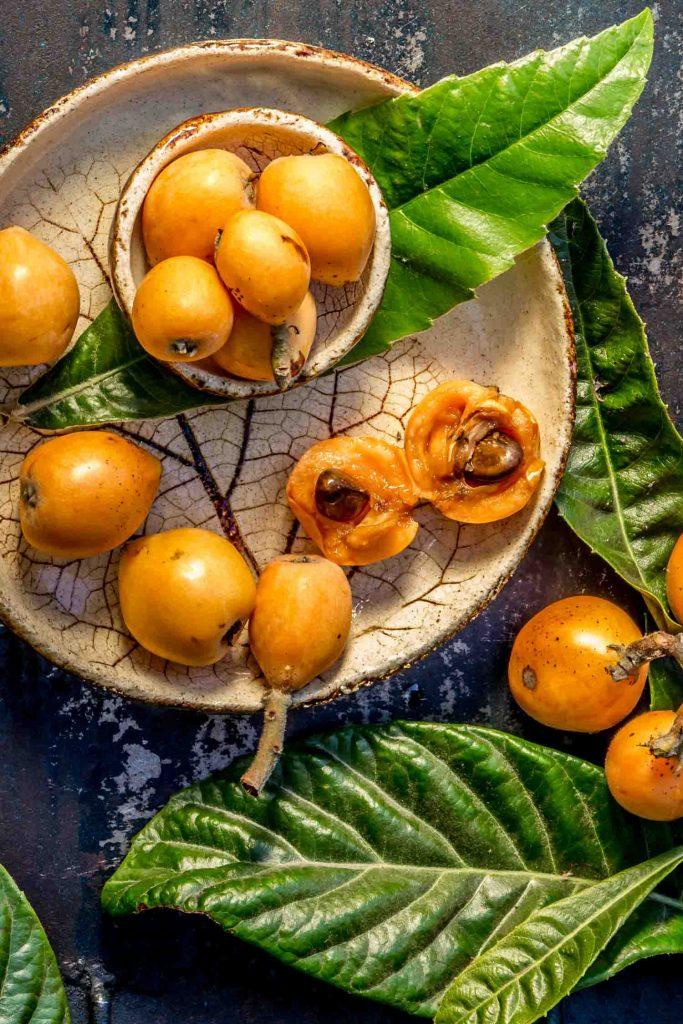 Cuban fruit loquat. Nispero. Eriobotrya Japonica. Loquat with fresh leaves on metal background.