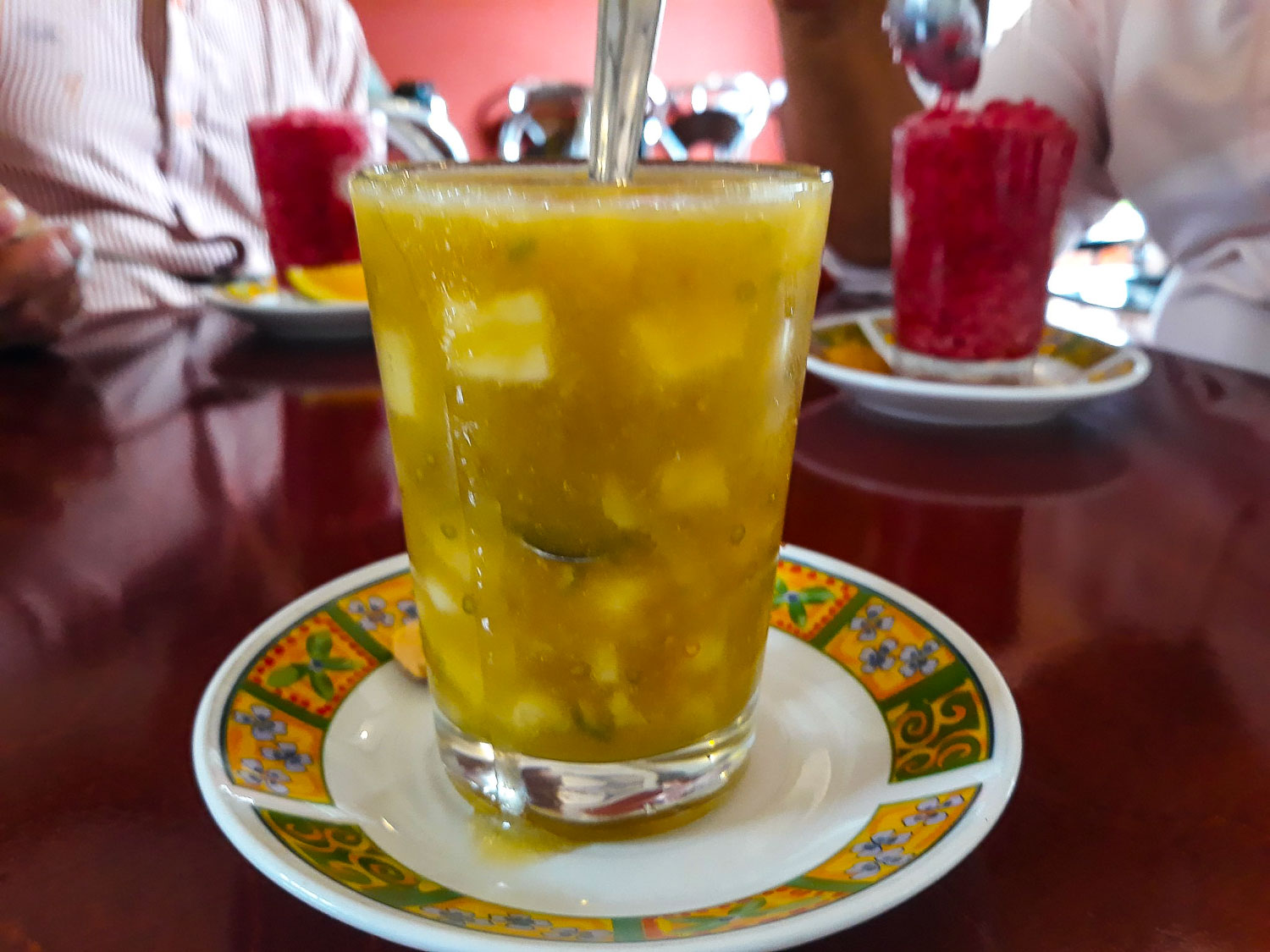 traditional drinks in Colombia called Champu at a traditional restaurant