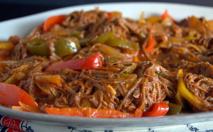 Ropa vieja a traditional Cuban dish, from a restaurant in Varadero