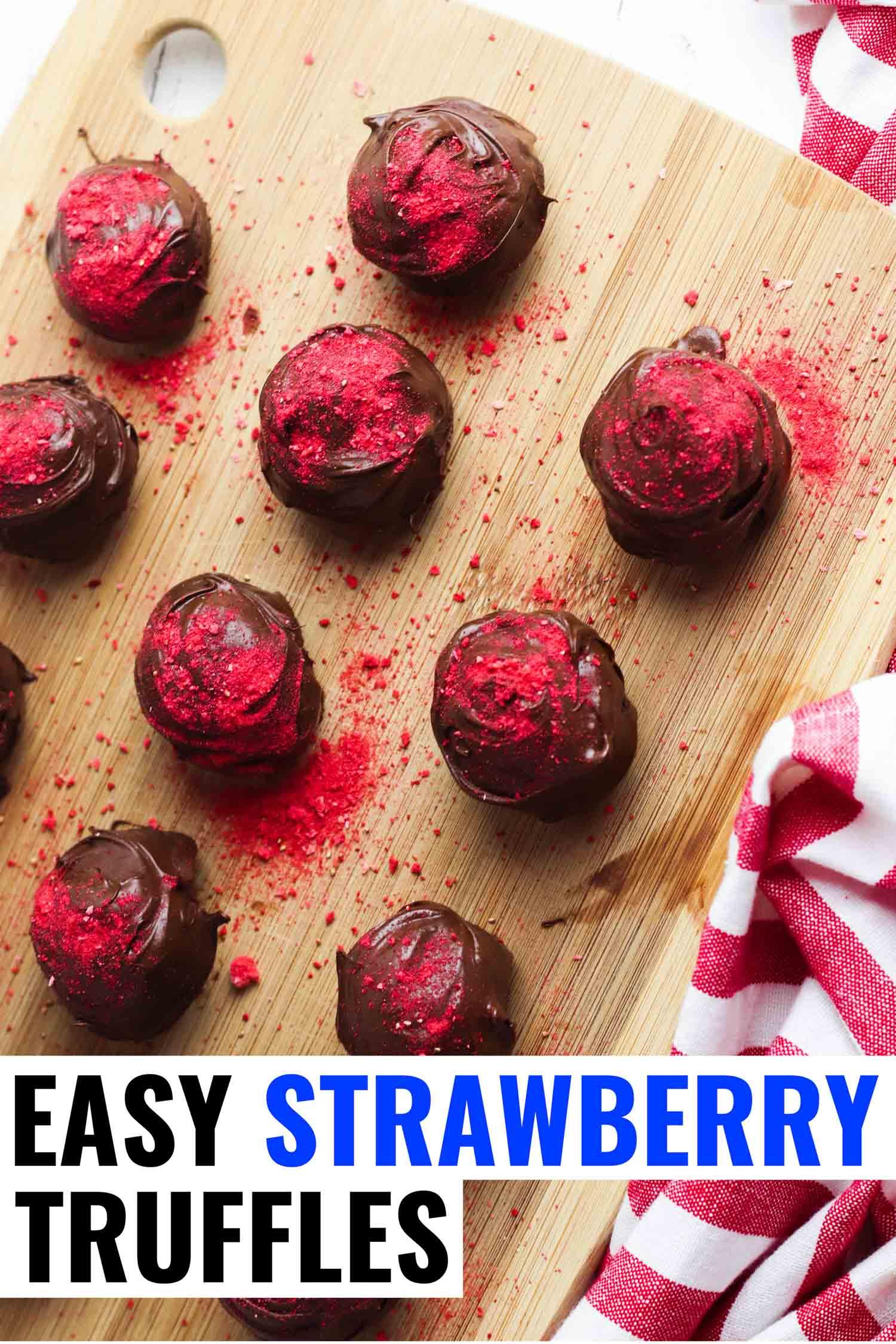 Chocolate strawberry truffles on a cutting board