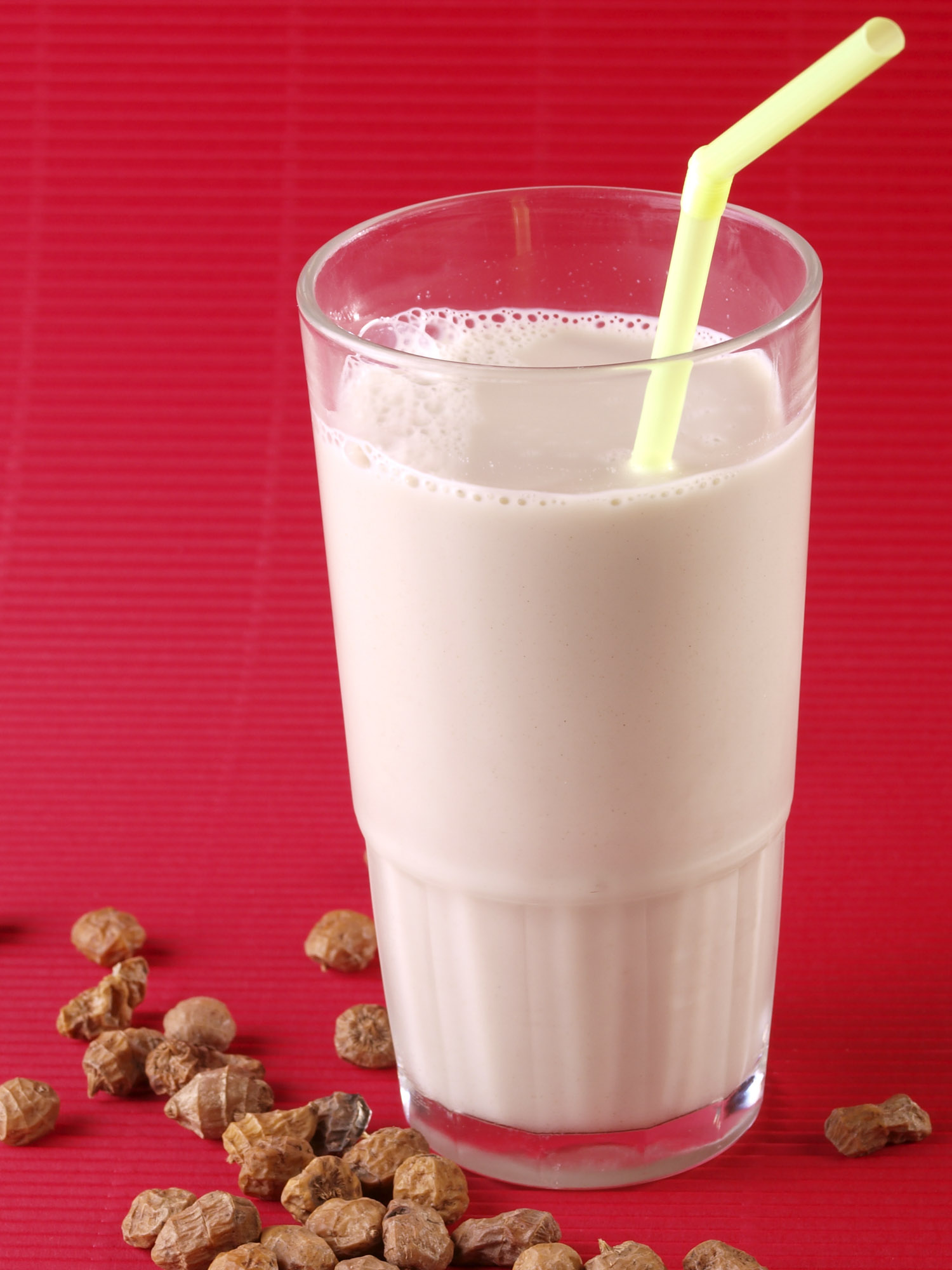 Mexican drink horchata on red background