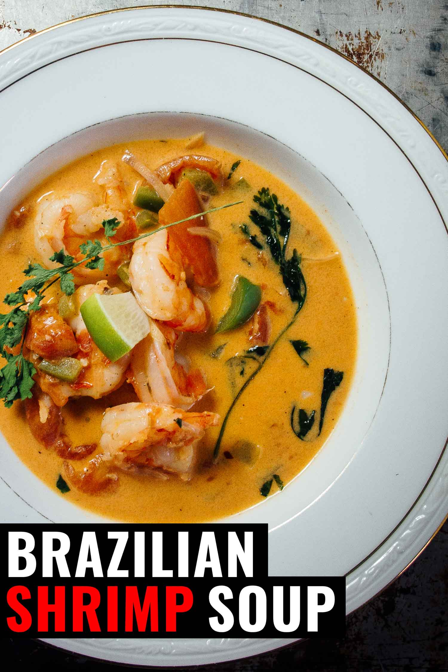 Brazilian shrimp soup in a white bowl on a rustic background