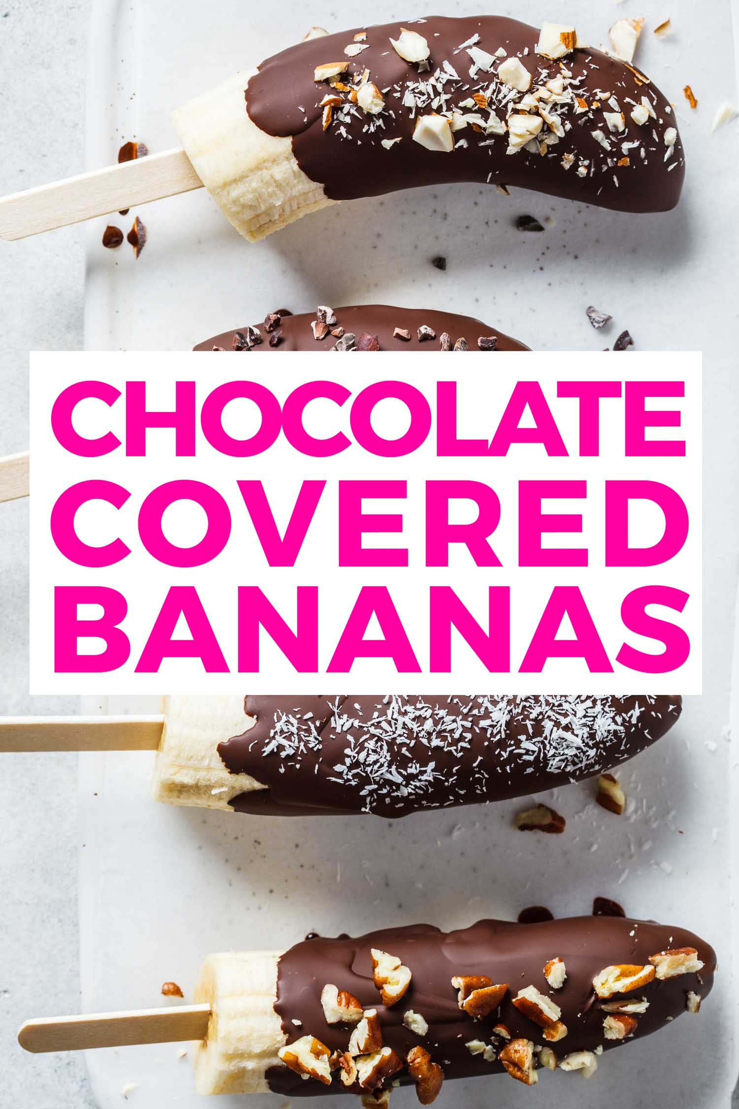 Chocolate covered bananas on a tray also called chocobananos or monkey tails.