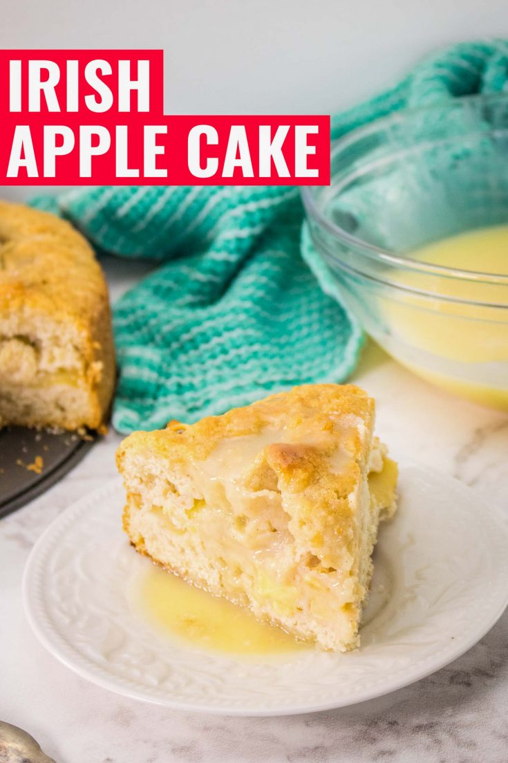 A traditional Irish apple cake. Also known as Kerry Apple Cake it is moist with a crunching topping with whiskey cream sauce. An authentic Irish dessert it is perfect St Patrick's day food. Like most Irish food recipes it uses local ingredients, apples, cream and whiskey. An old fashioned Irish cake with delicious creme anglaise. #irish#stpatricksday#holidayrecipes#apple#dessertrecipes#easyrecipes#irishdessert #irishfood #fallbaking #applerecipe #custardsauce #cake #baking #cremeanglaise