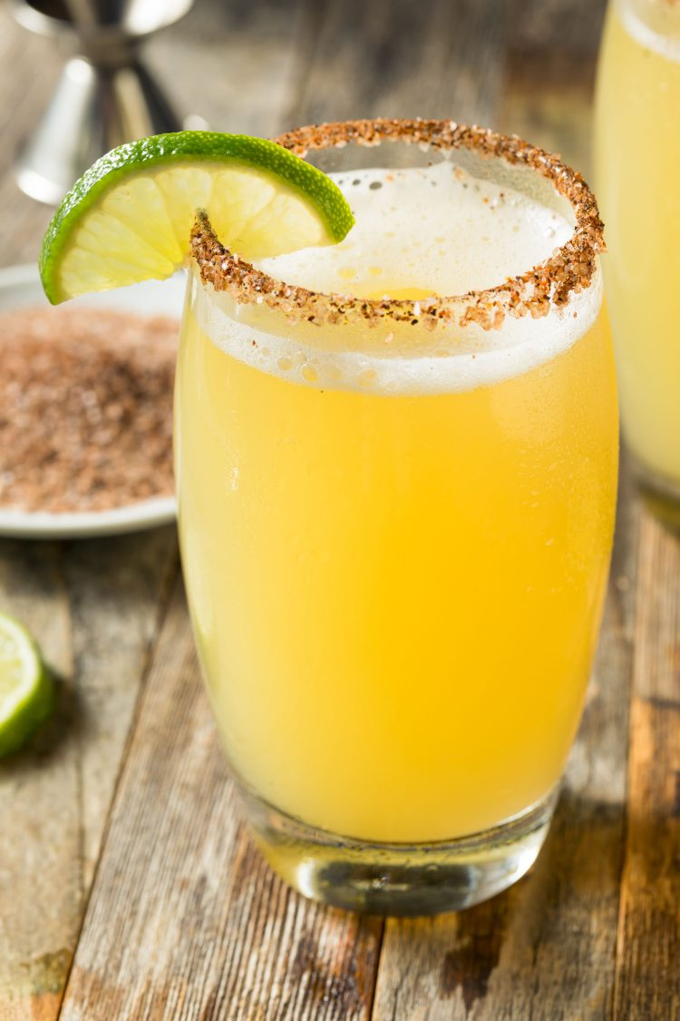 Mexican Beer and Lime Michelada Cocktail with Salt