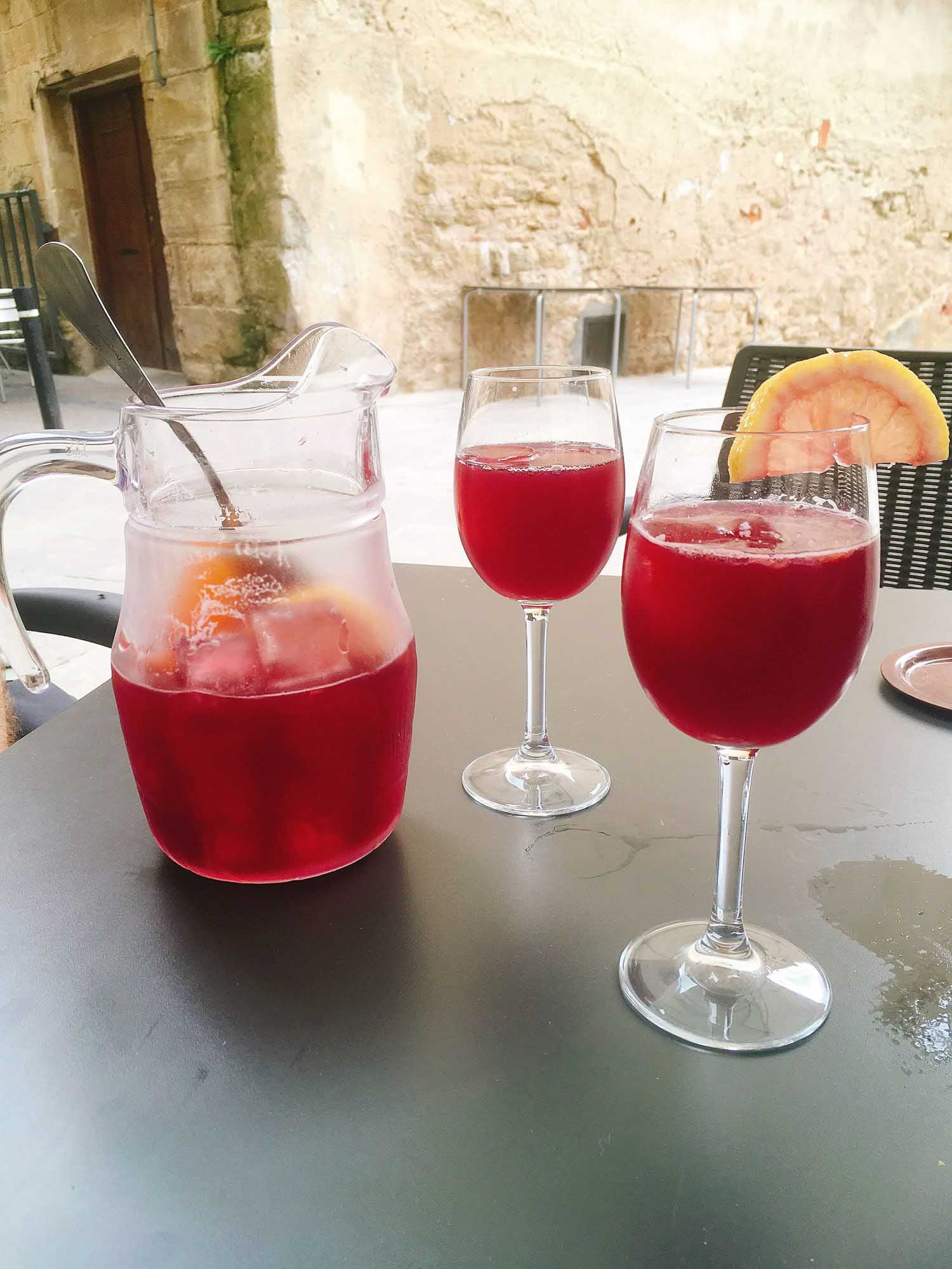Spanish sangria in a pitcher on a table