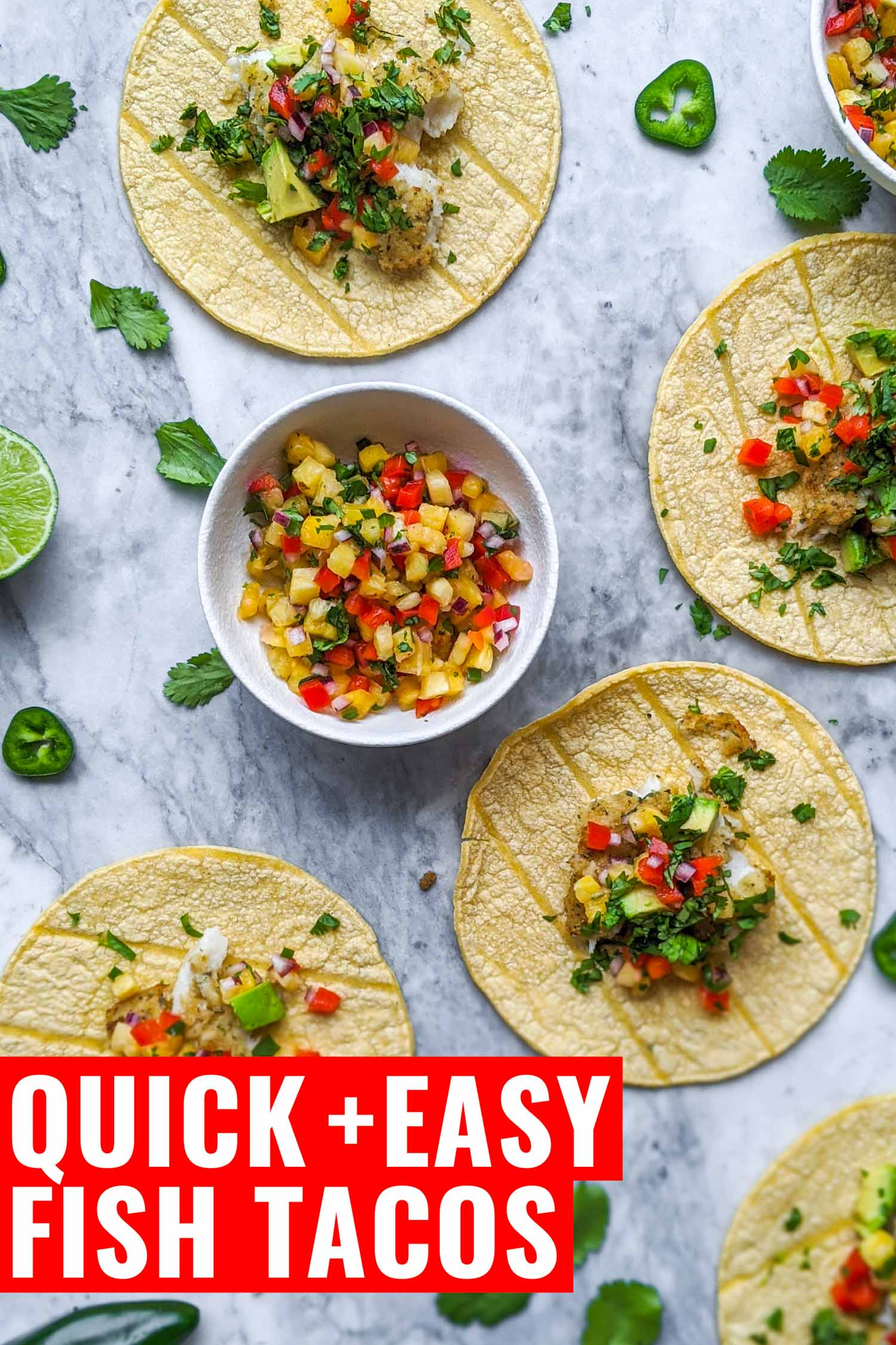Fish tacos on a marble background