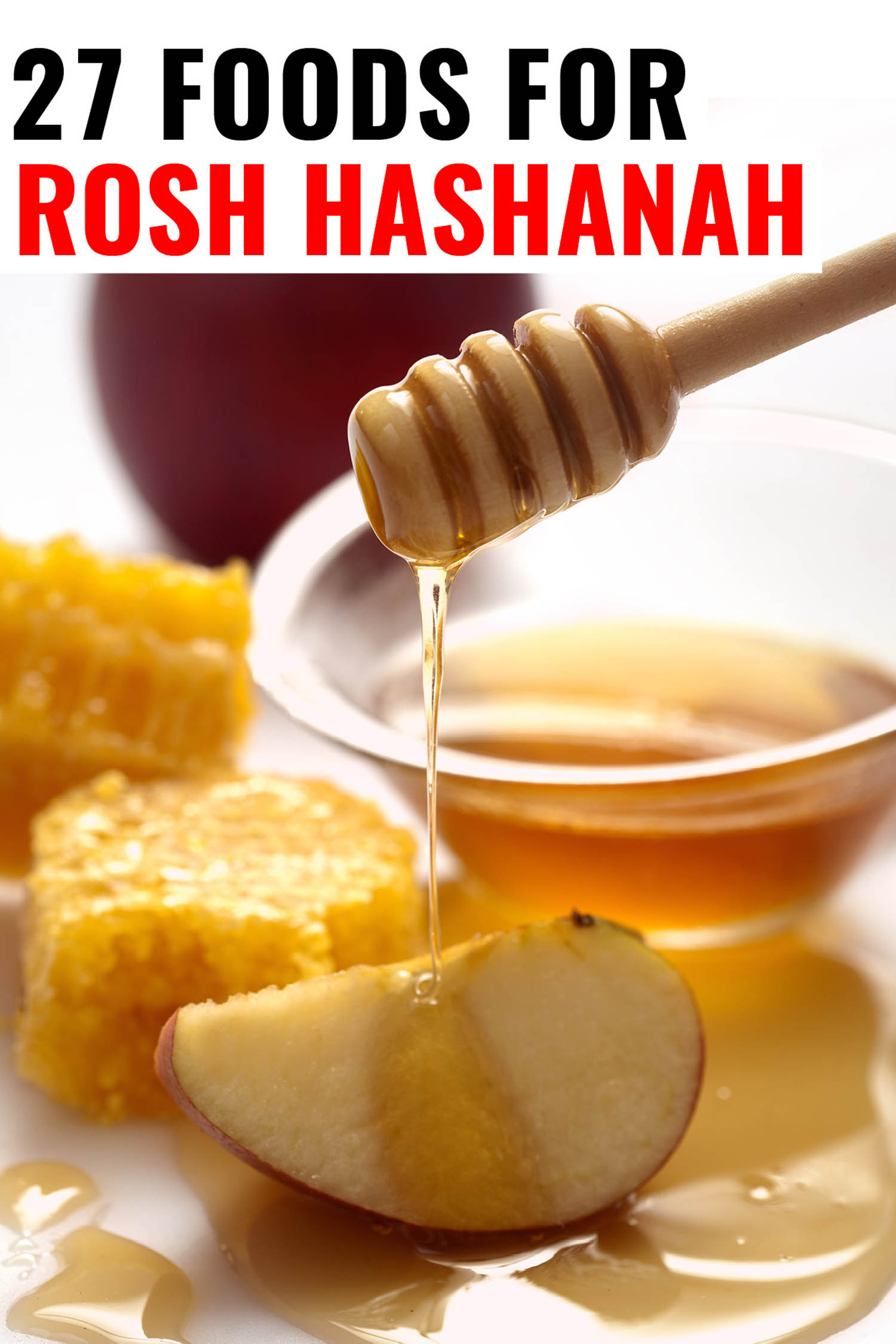 apples dipped in honey for Rosh Hashanah with title text