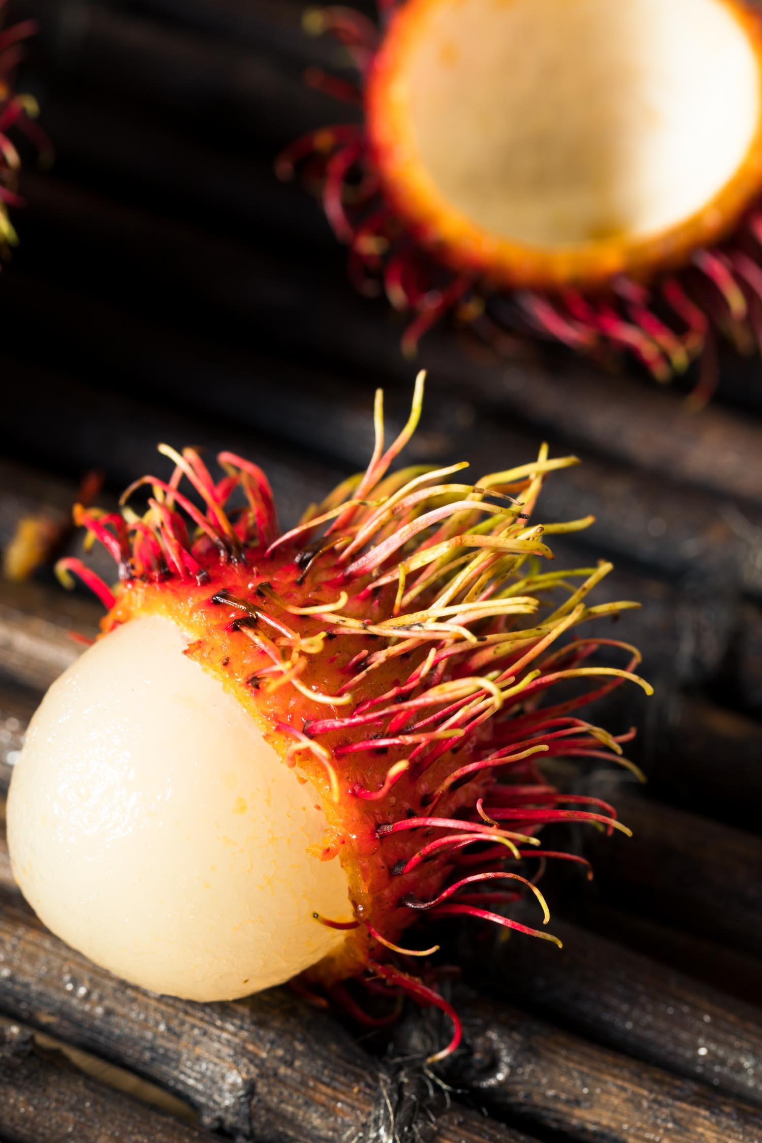 Fruit in Hawaii Raw Red Organic Rambutan Fruit Ready to Eat