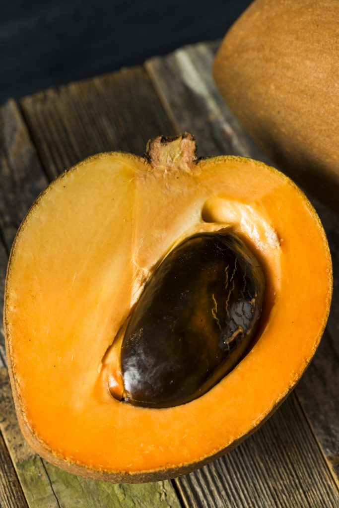 Sapote in Hawaii. Raw Organic Brown Mamey Fruit with a Brown Seed
