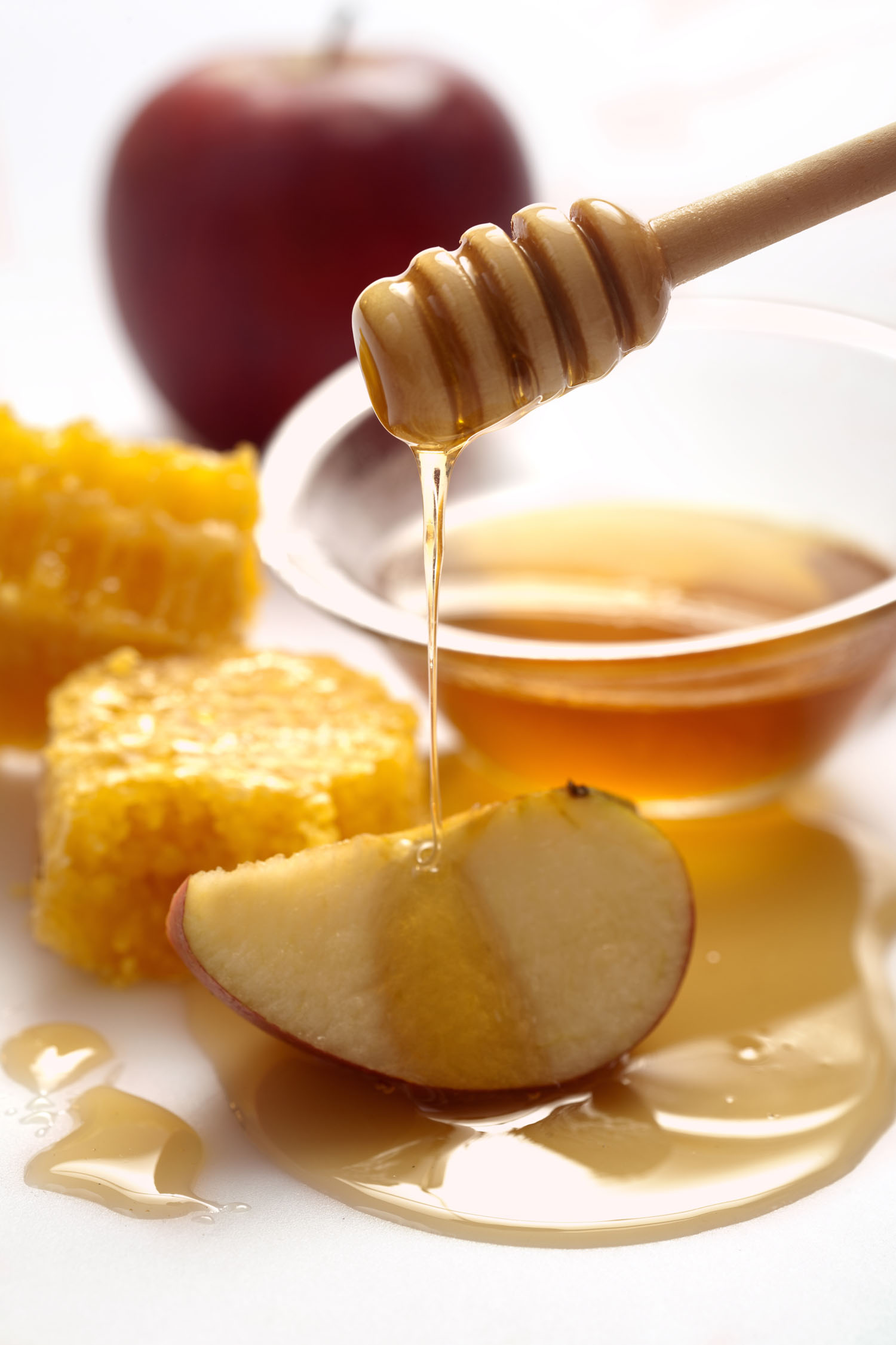 Apples dipped in honey