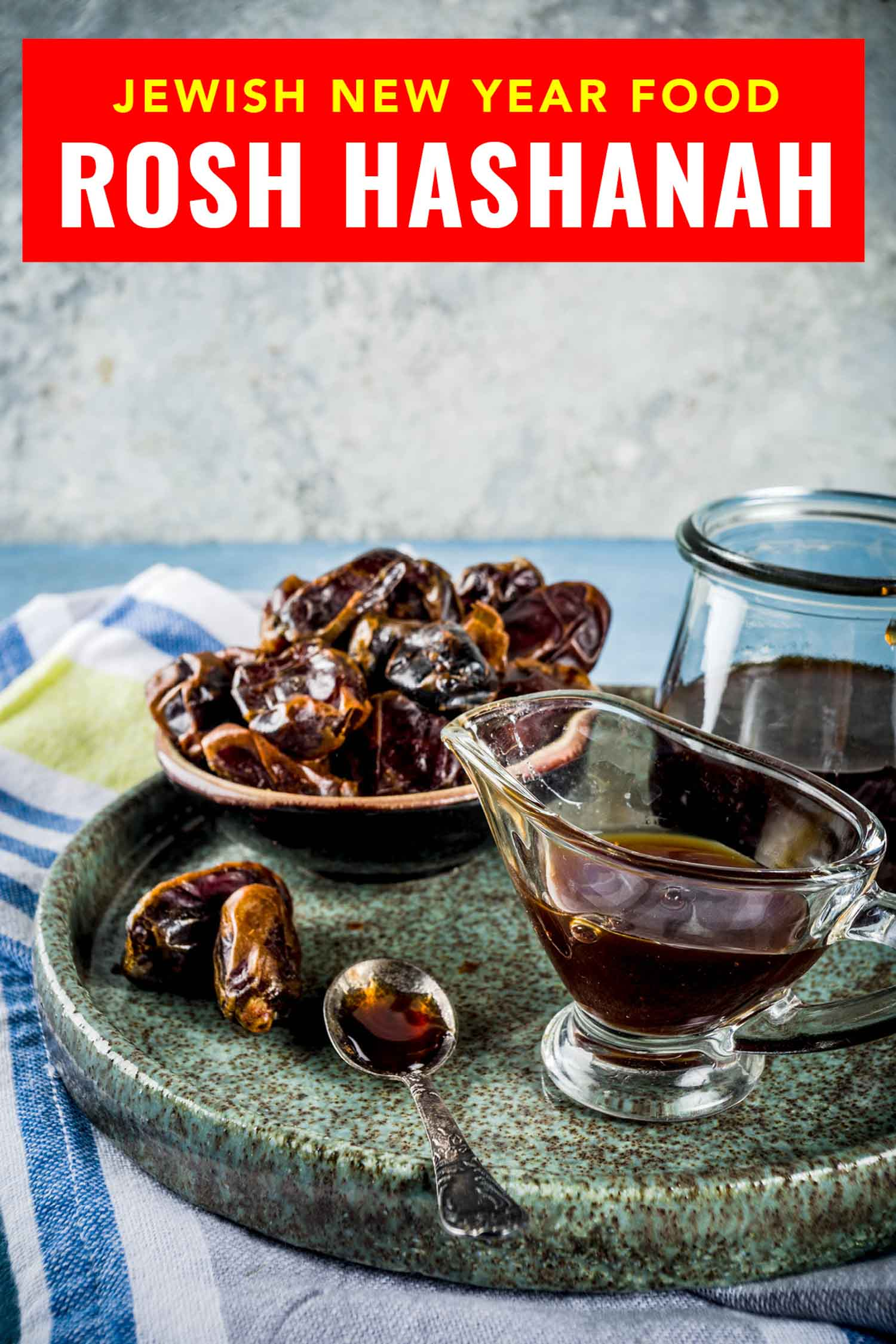 dates and date honey with text that says what to eat for Rosh Hashanah