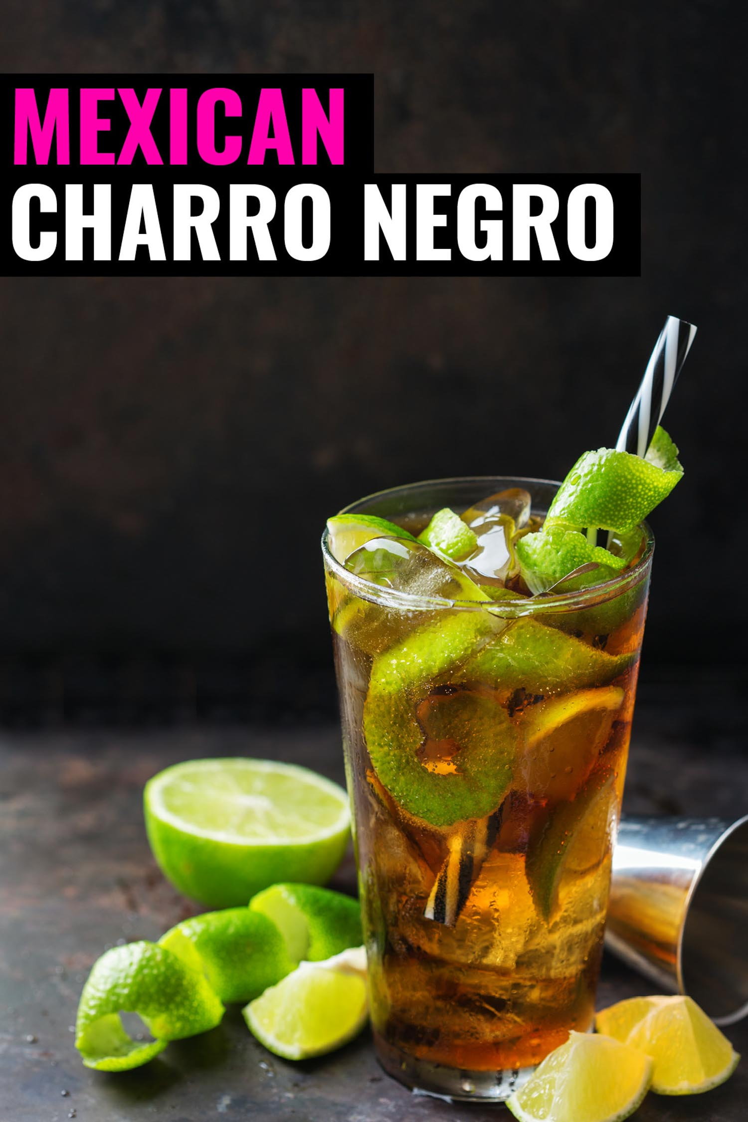 Charro negro tequila cocktail with lime in a glass on a black background