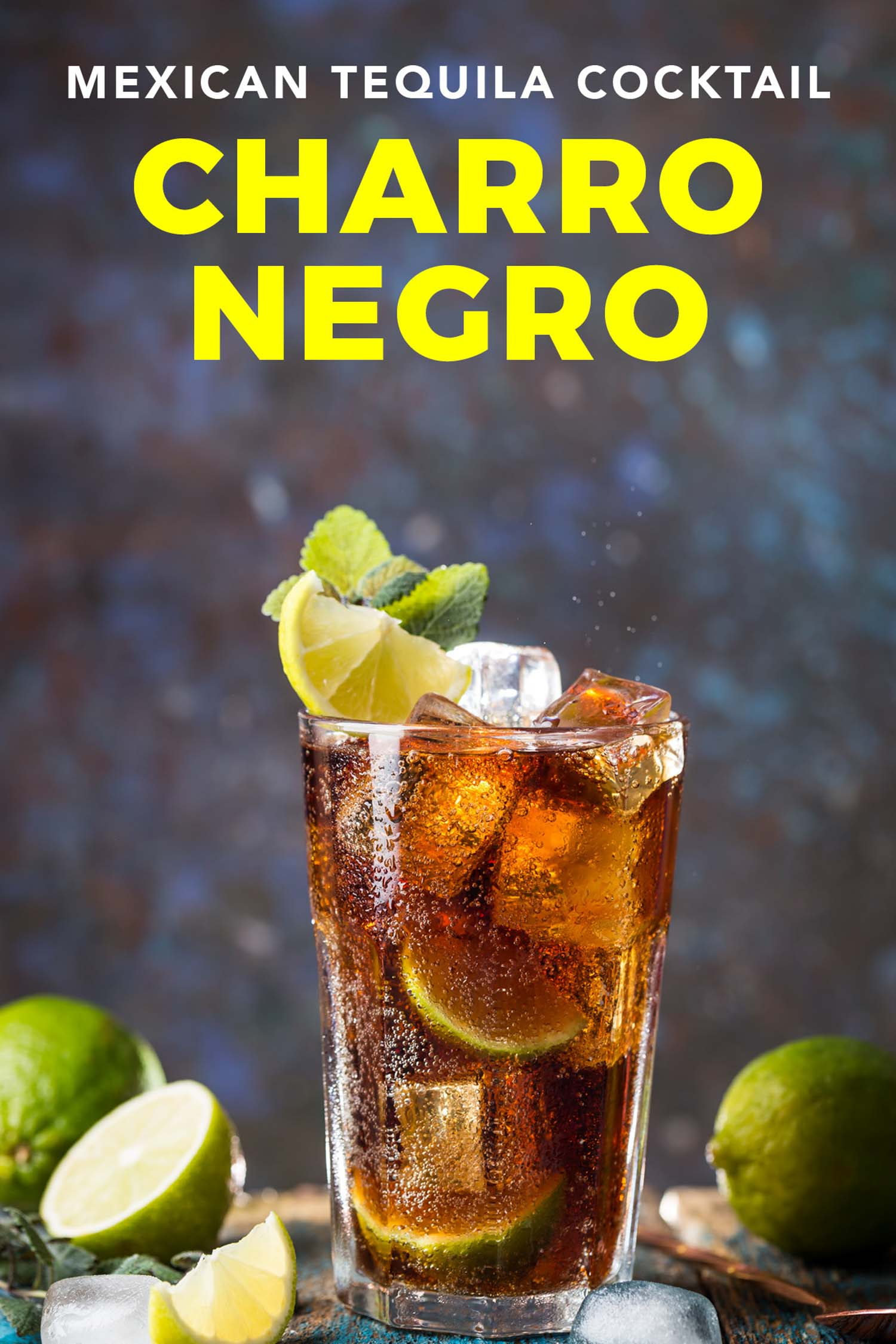 Charro negro Mexican cocktail with limes on dark background and text