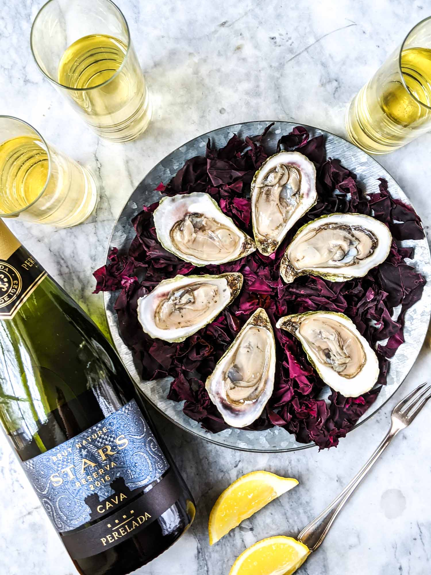 Spanish cava paired with oysters