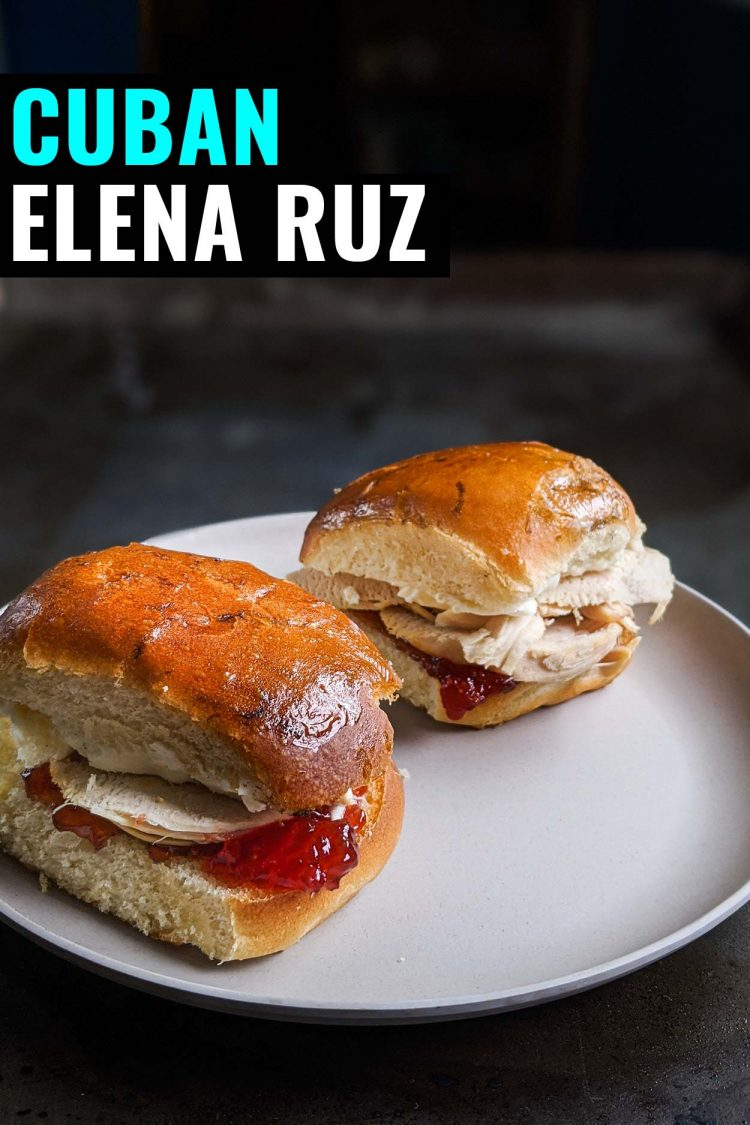 Open faced Elena Ruz sandwich, Cuban turkey sandwich with strawberry on one side and cream cheese on the other.