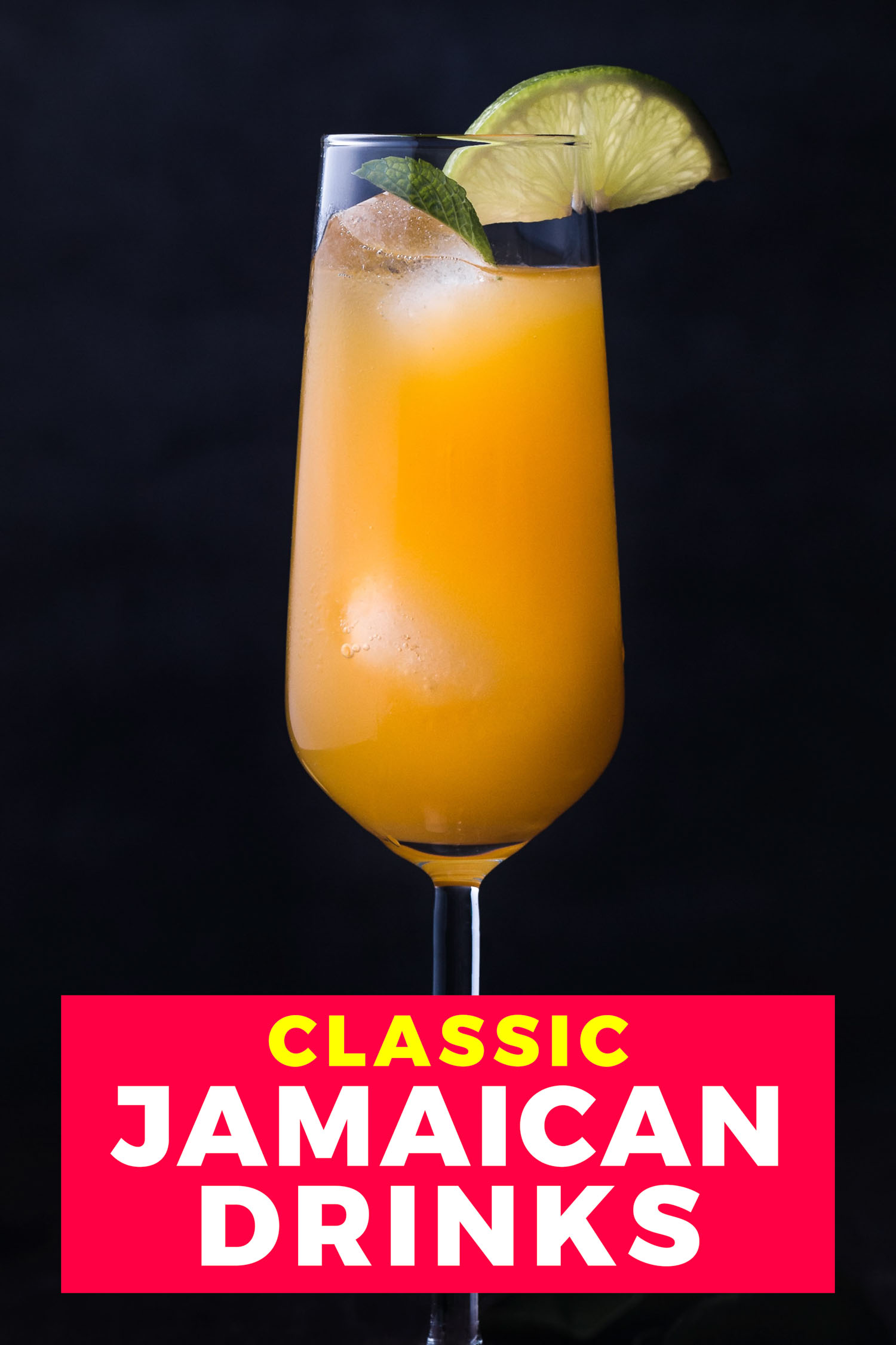 Jamaican cocktail on a black background
