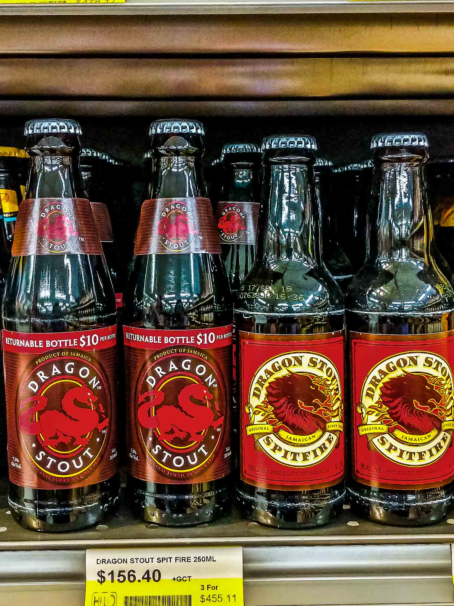 Dragon Stout a popular Jamaican beer on a supermarket shelf.