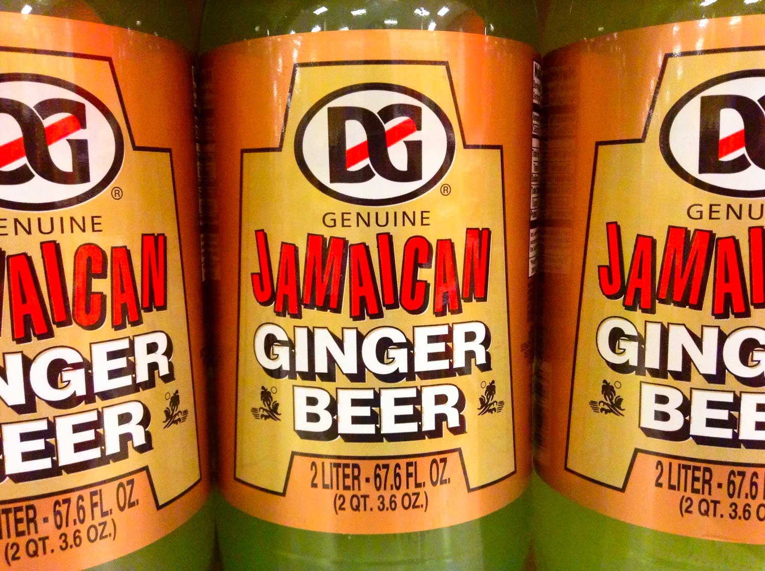 Three bottles of genuine Jamaican ginger beer.