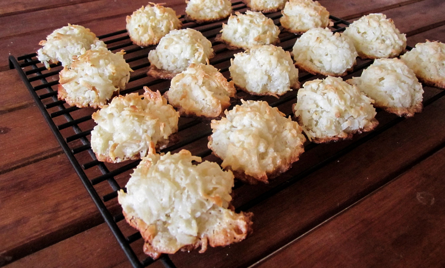 Tray of coconut macaroons cooling.