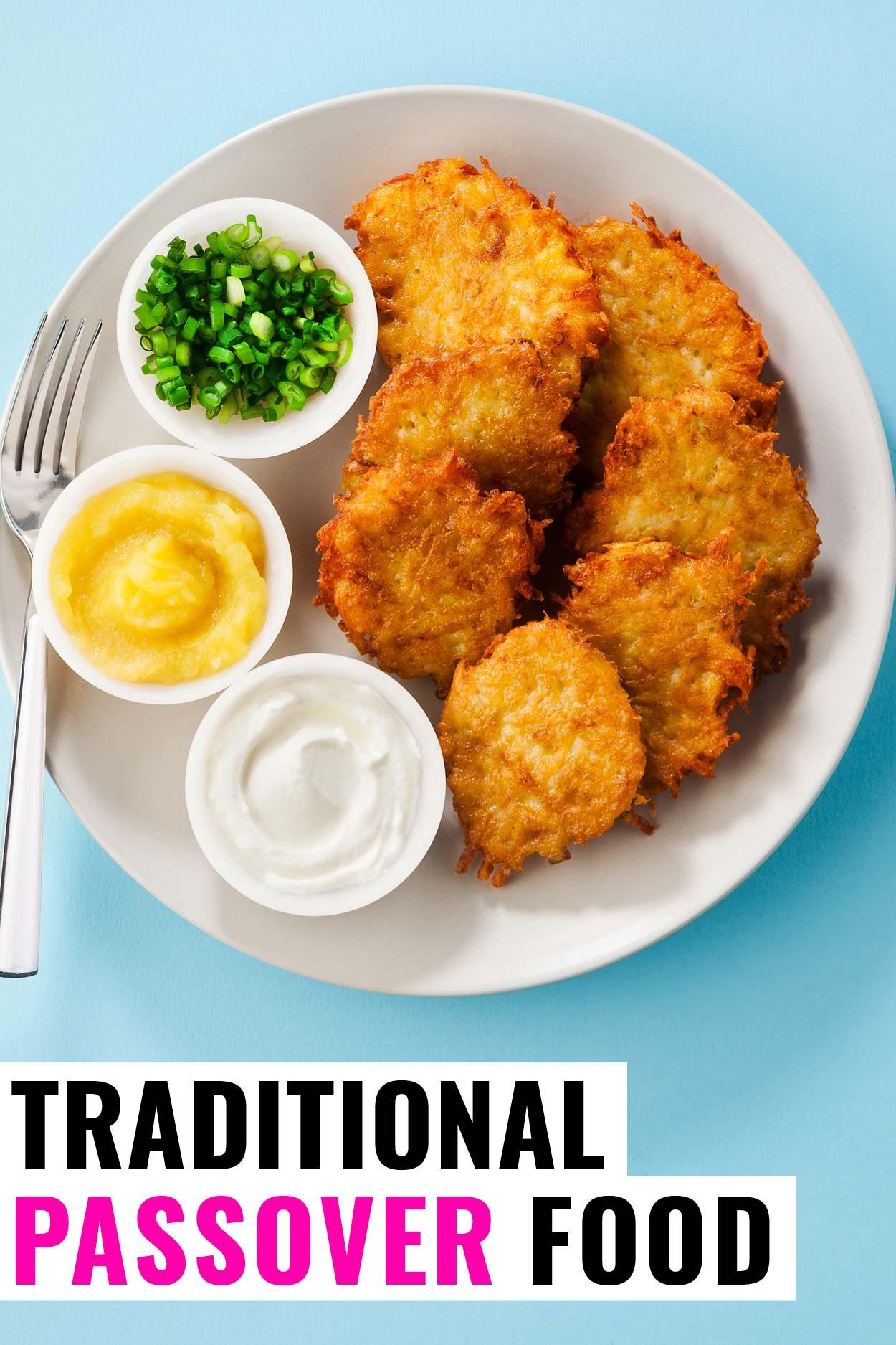 Passover food plate of potato latkes