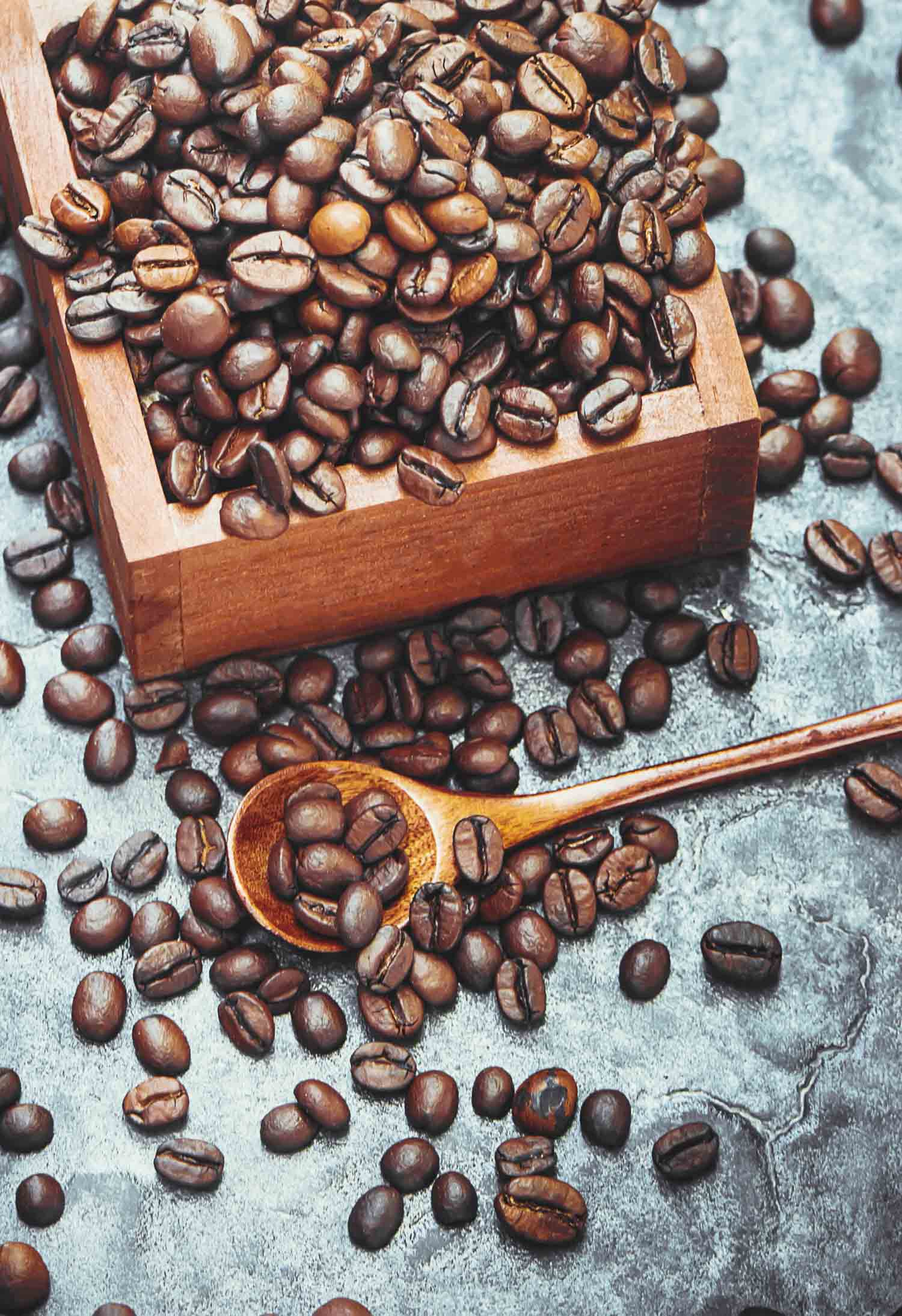 coffee beans on a metallic background