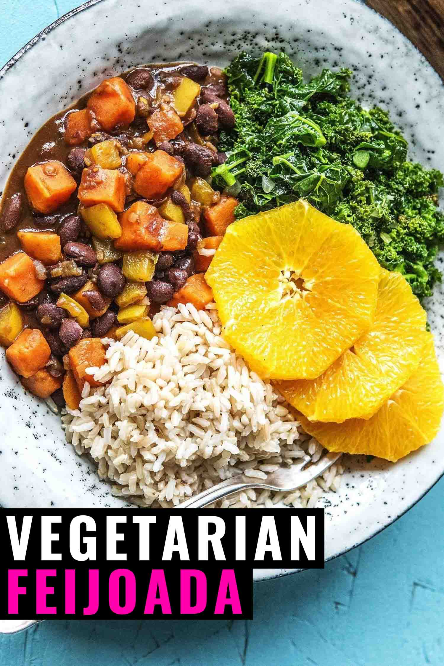 Vegetarian feijoada with slides of orange and kale on a white plate and black background.