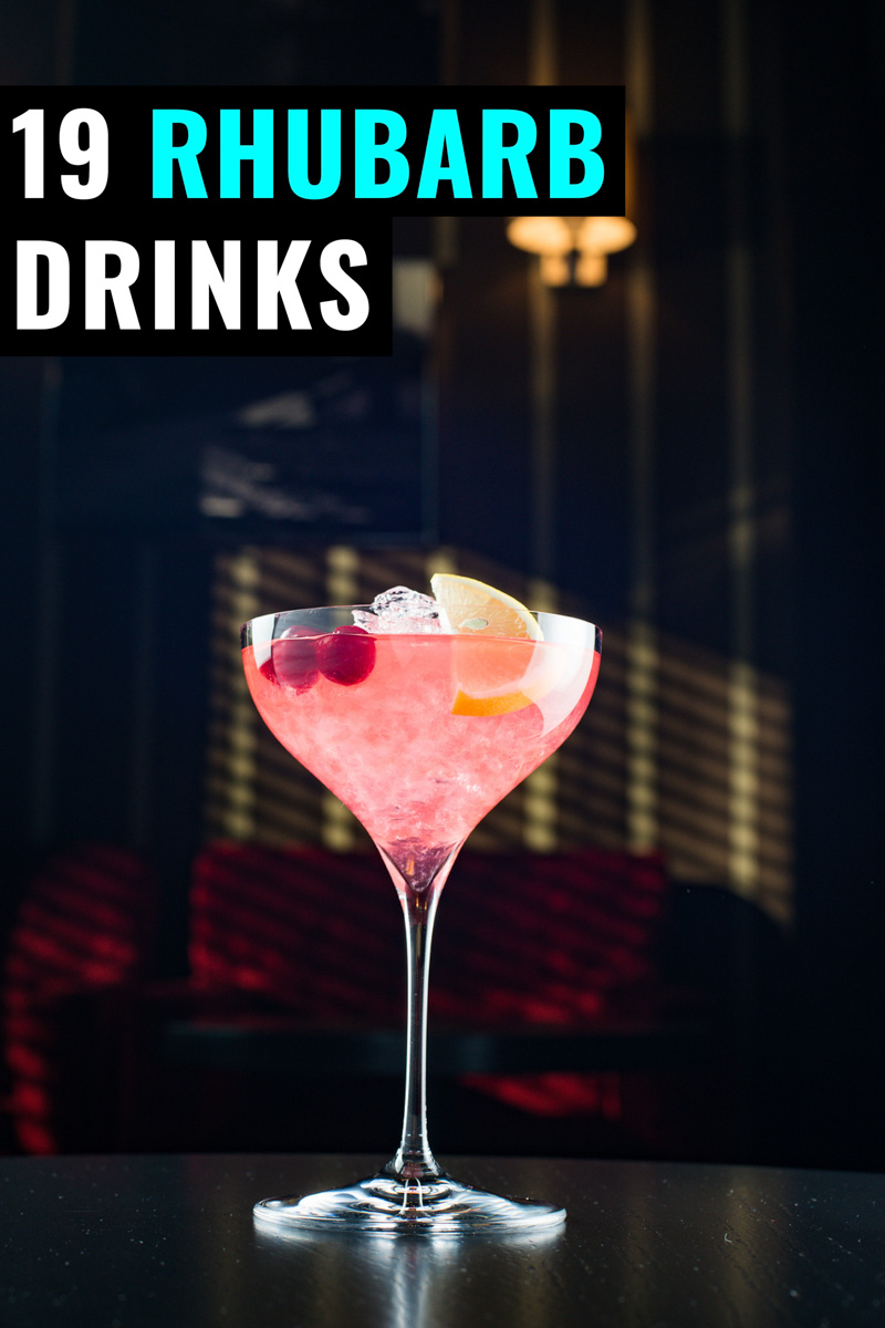 Pink rhubarb drink in a coupe glass on a black background with text 19 rhubarb drinks