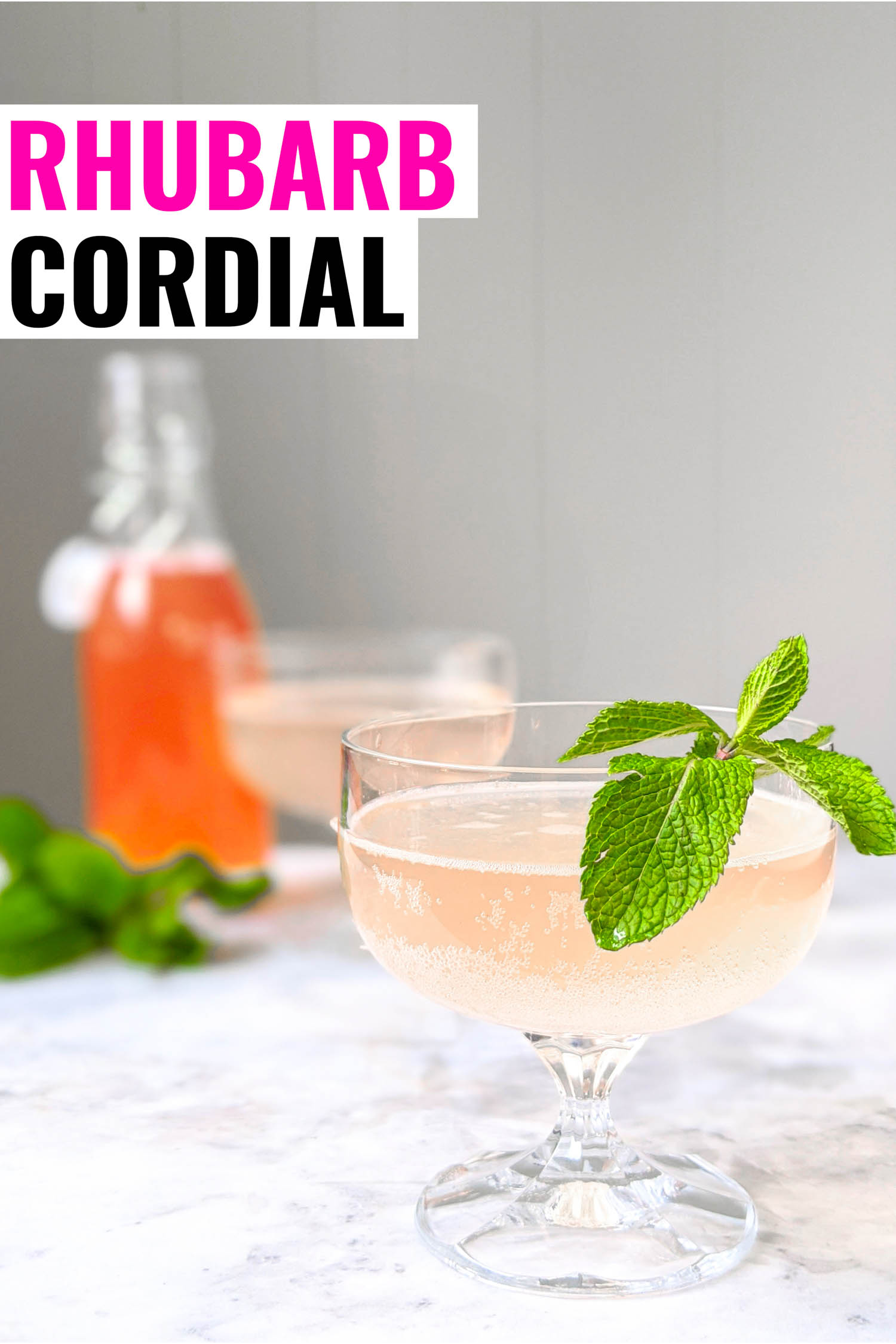 Rhubarb soda called rhabarberschorle in two coupe glasses with syrup bottle in background.