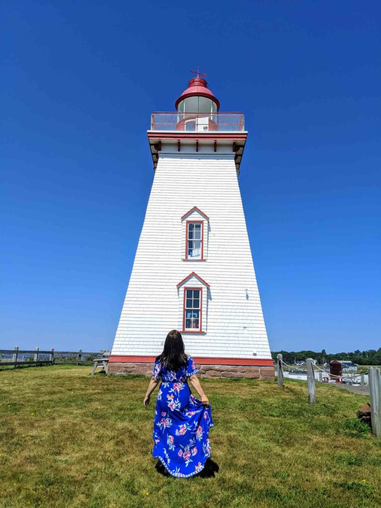 Ayngelina at Souris East Lighthouse in Prince Edward Island