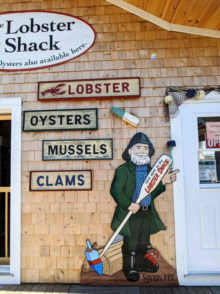 Lobster Shack Souris PEI exterior with sign that says lobster oysters mussels and clams