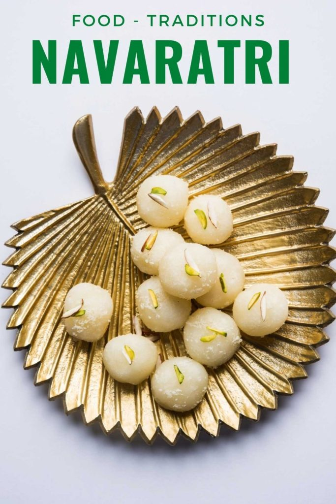 Gold leaf plate with Navaratri festival food on a white background, special fasting recipes